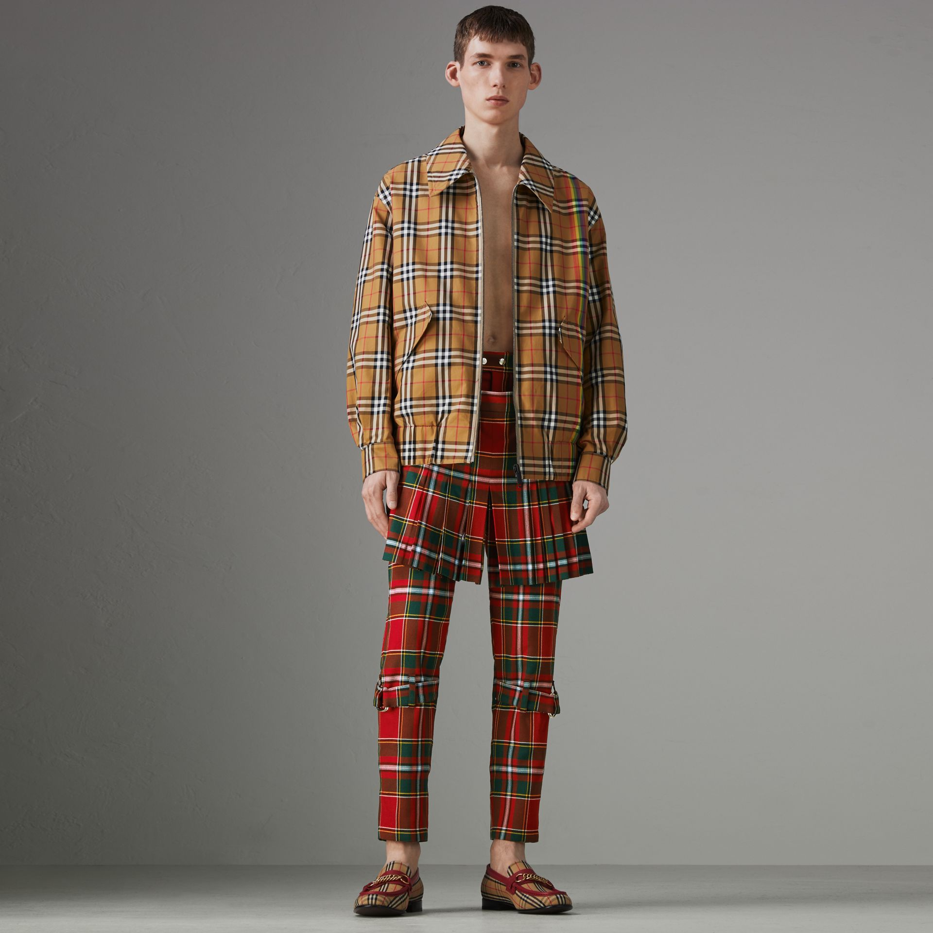 Modern Stewart Royal Tartan Punk Trousers in Bright Red | Burberry Singapore - gallery image 0