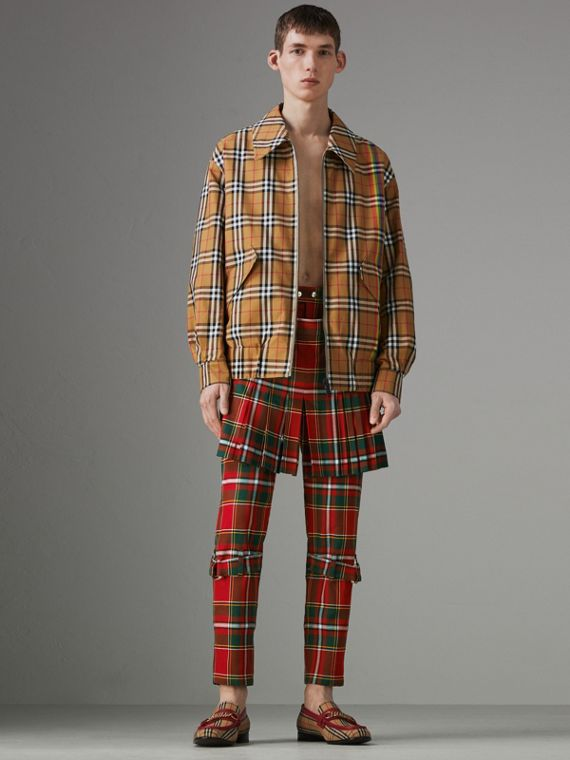 Modern Stewart Royal Tartan Punk Trousers in Bright Red