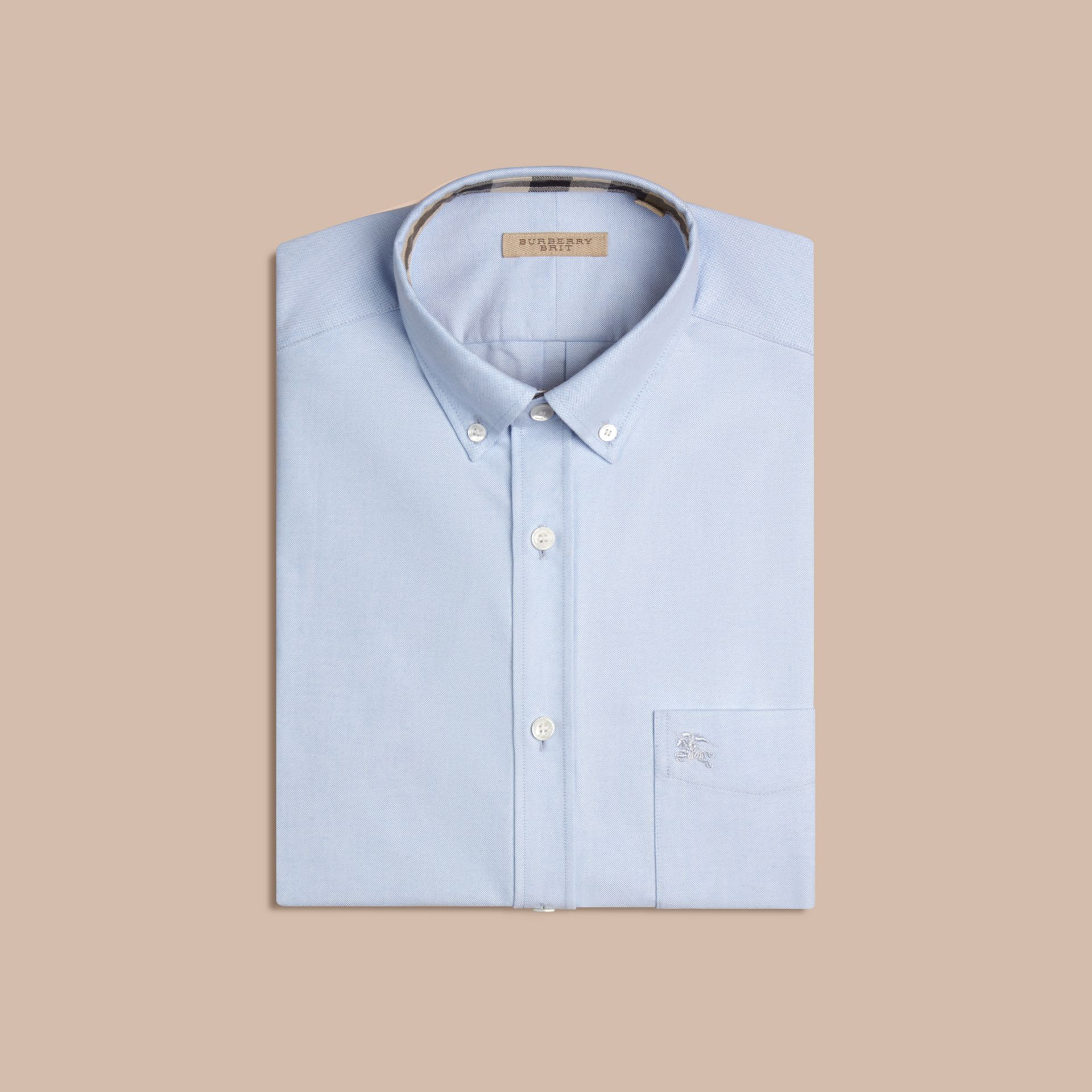 Check Detail Cotton Oxford Shirt in Cornflower Blue - gallery image 4