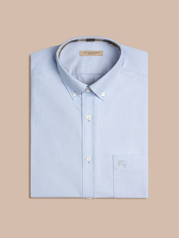 Check Detail Cotton Oxford Shirt in Cornflower Blue - Men | Burberry - cell image 3