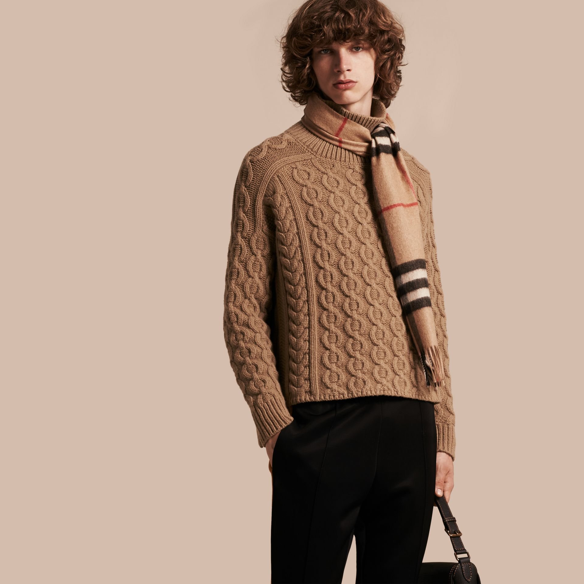 Camel Wool Cashmere Cable Knit Jumper - gallery image 1