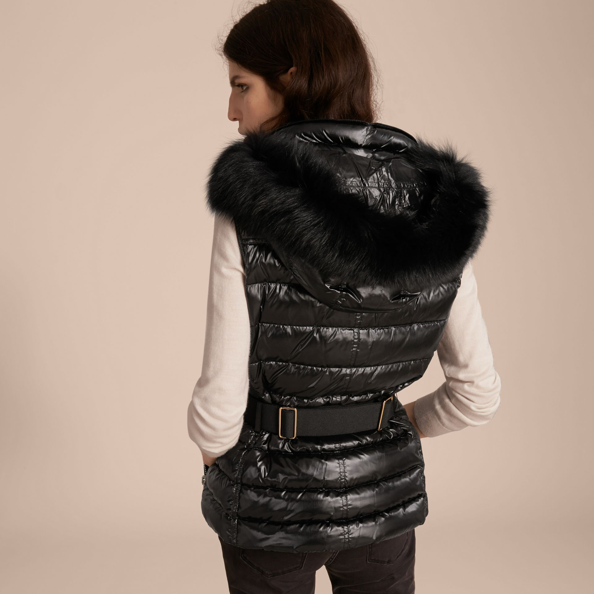 Black Down-filled Gilet with Detachable Fur-trimmed Hood - gallery image 3