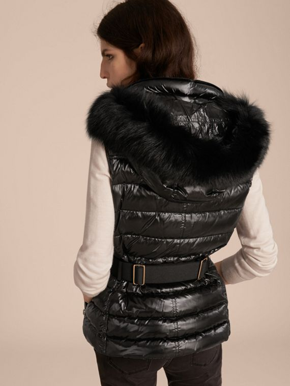Black Down-filled Gilet with Detachable Fur-trimmed Hood - cell image 2