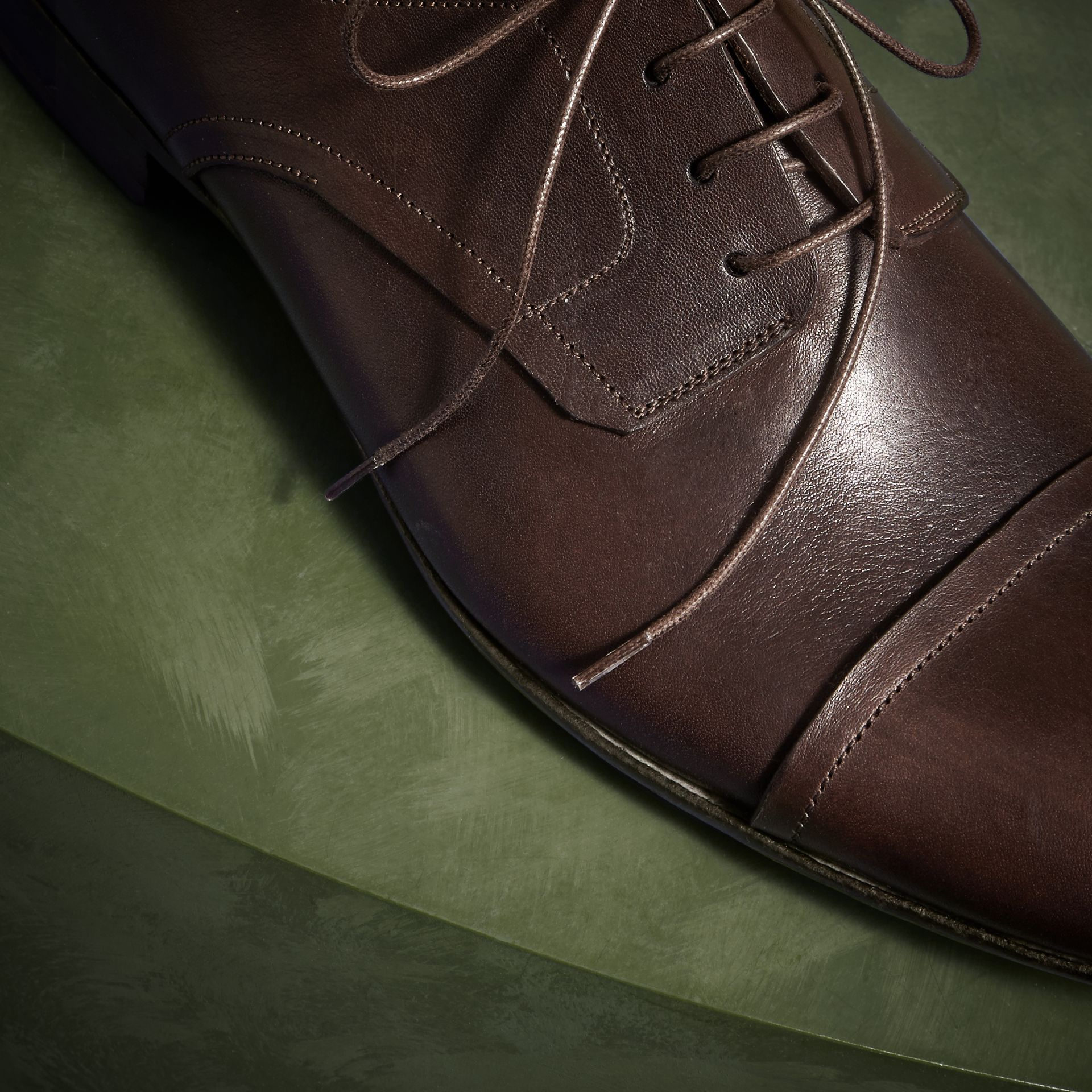 Ebony Washed Leather Derby Shoes - gallery image 2