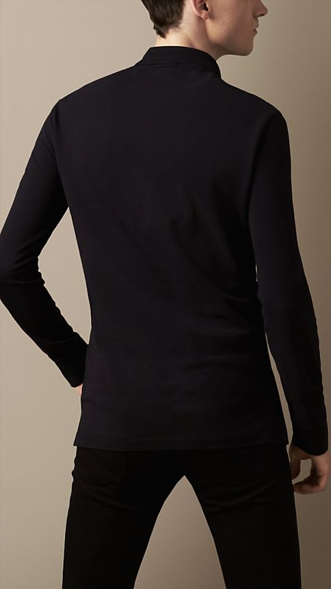 Black Cotton Jersey Double Dyed Polo Shirt - Image 2