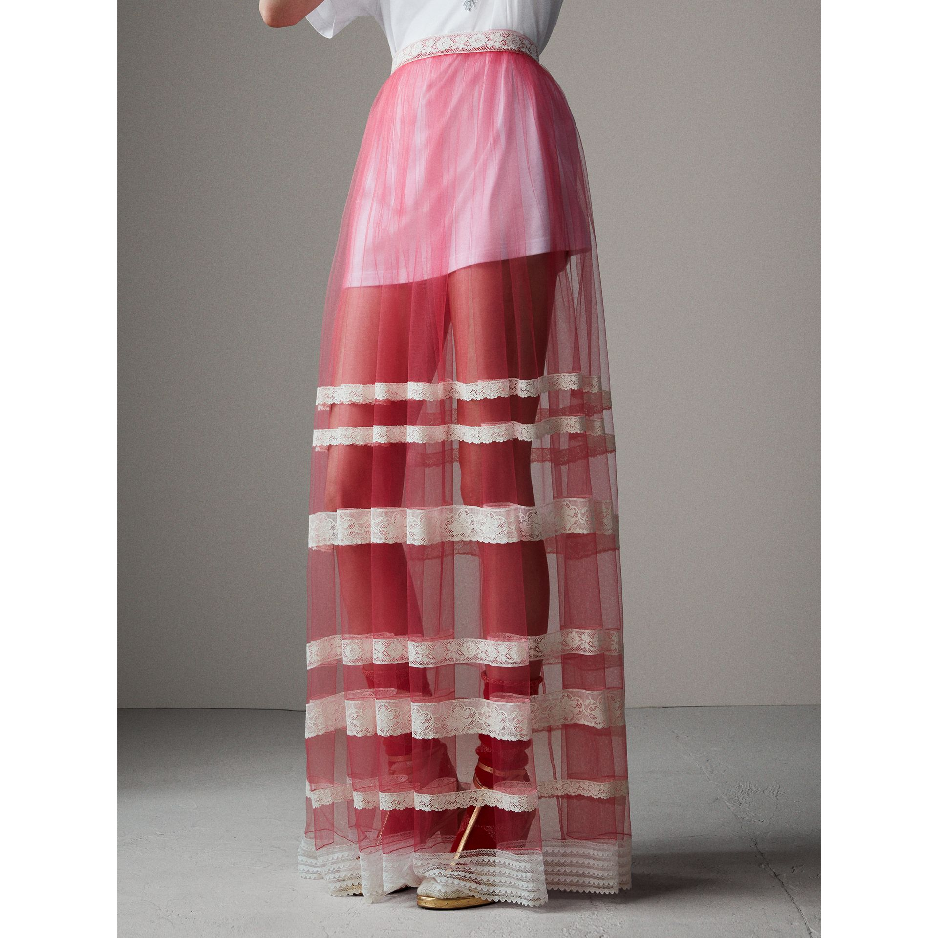 Floor-length English Lace Trim Tulle Skirt in Bright Pink - Women | Burberry Singapore - gallery image 8
