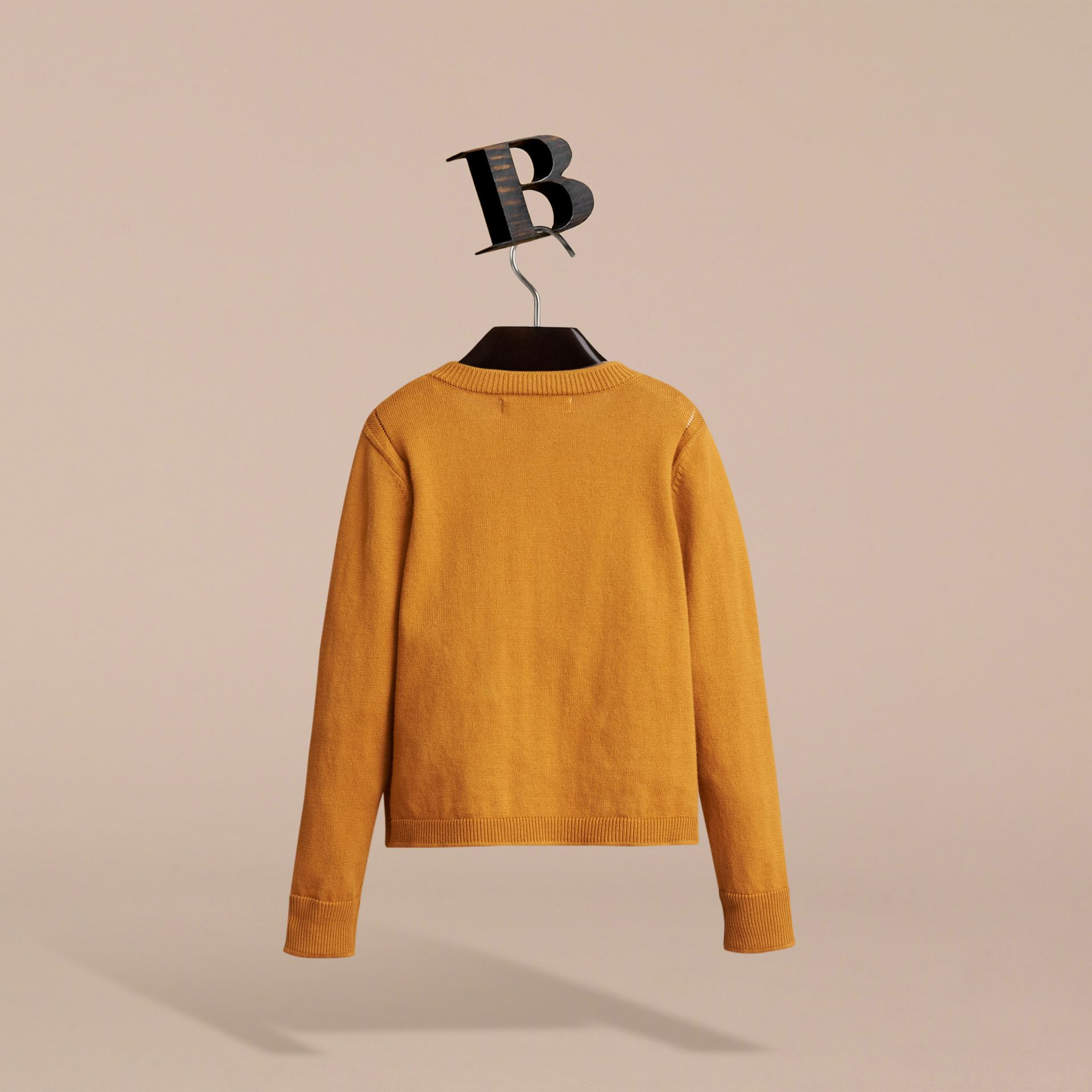 Check Cuff Cotton Knit Cardigan in Ochre Yellow - Girl | Burberry - gallery image 4