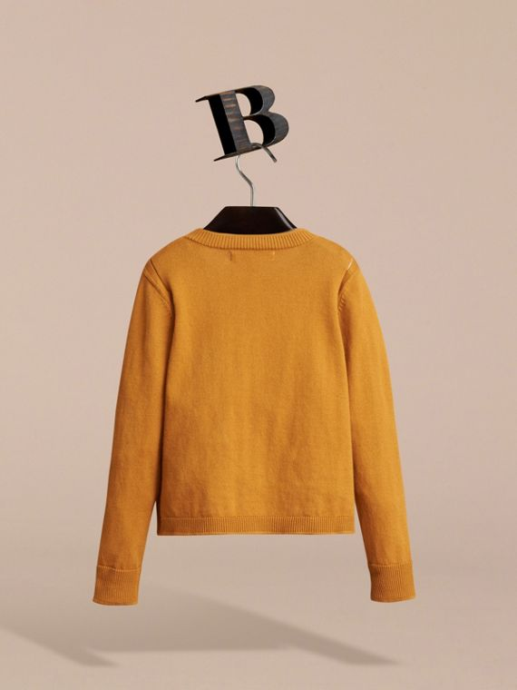 Check Cuff Cotton Knit Cardigan in Ochre Yellow - Girl | Burberry - cell image 3