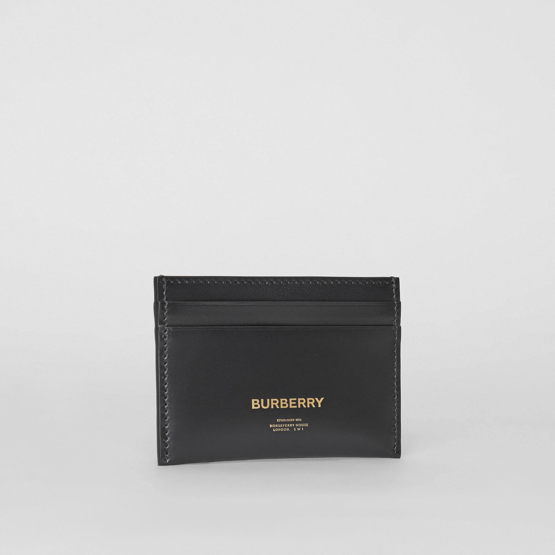 Horseferry Print Leather Card Case in Black | Burberry United States - gallery image 3