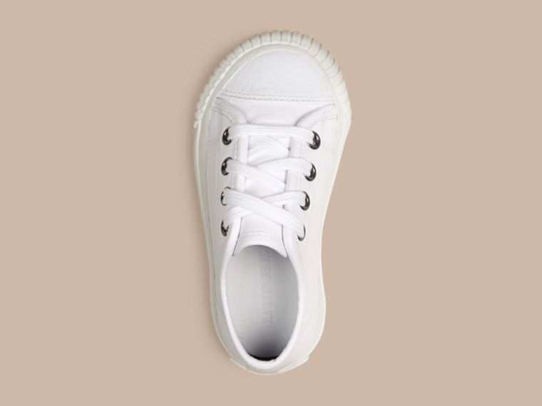 White Leather Lace-Up Trainers - cell image 1