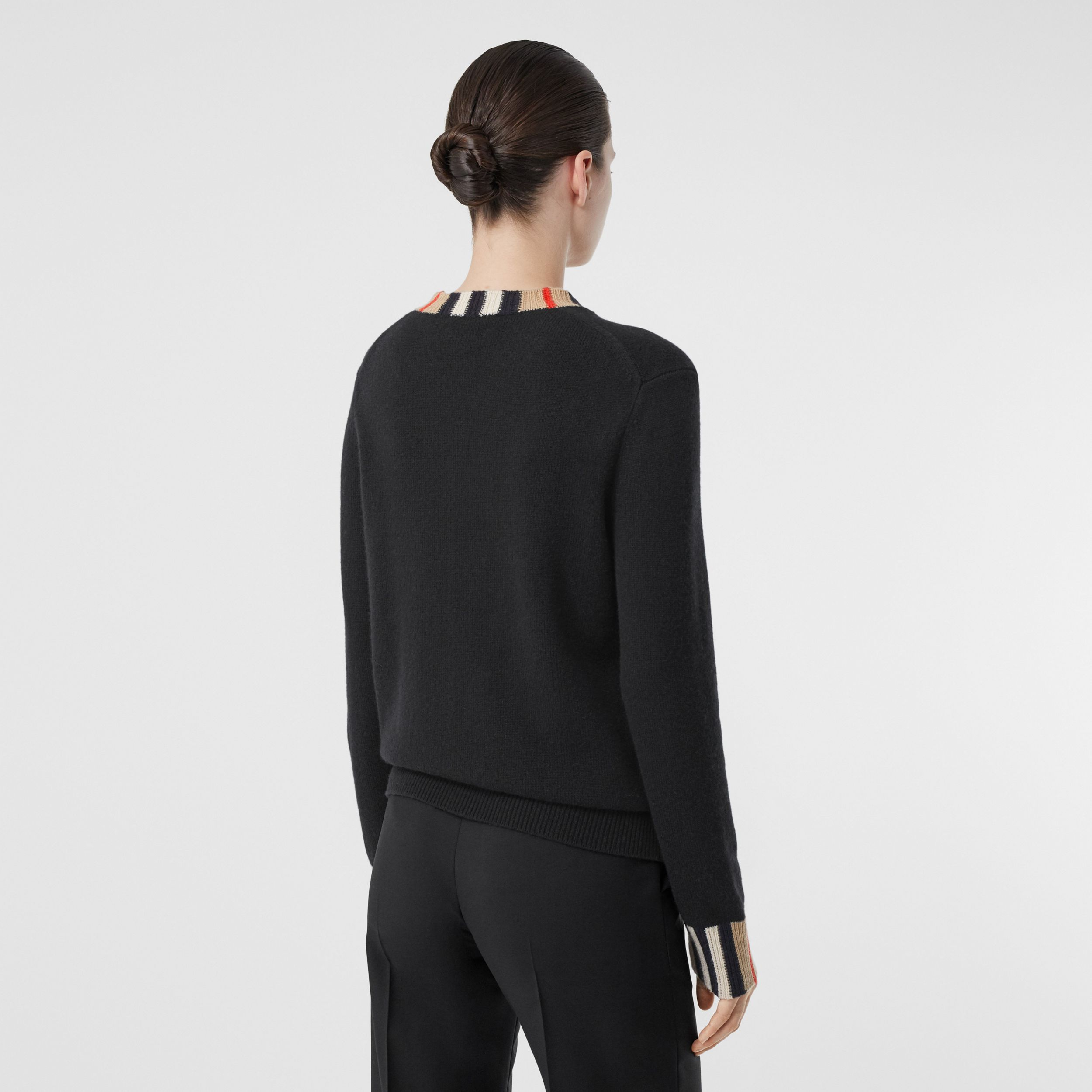 Icon Stripe Trim Cashmere Sweater in Black - Women | Burberry Canada - 3
