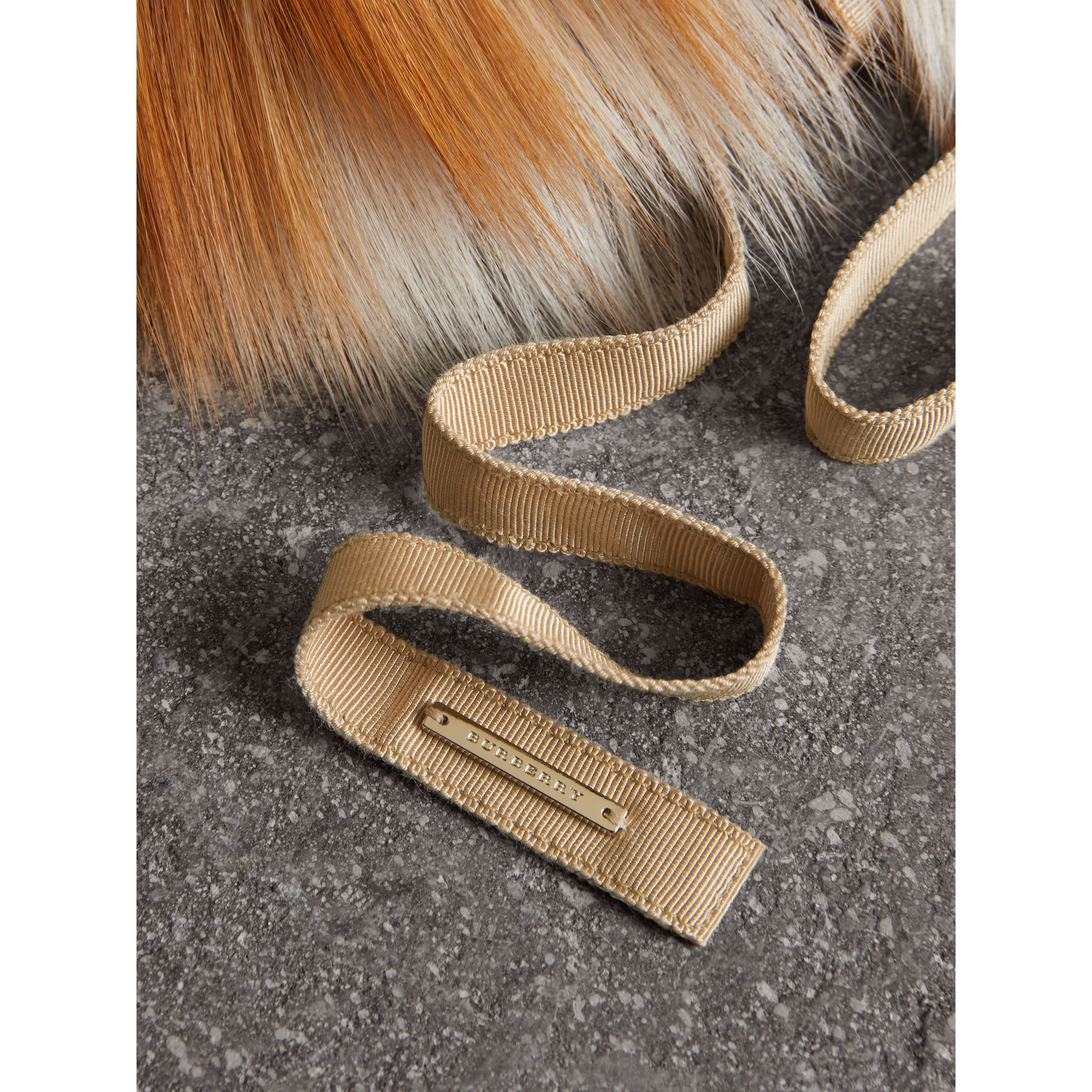 Fox Fur Collar with Check Cashmere Lining in Camel - Women | Burberry - gallery image 2