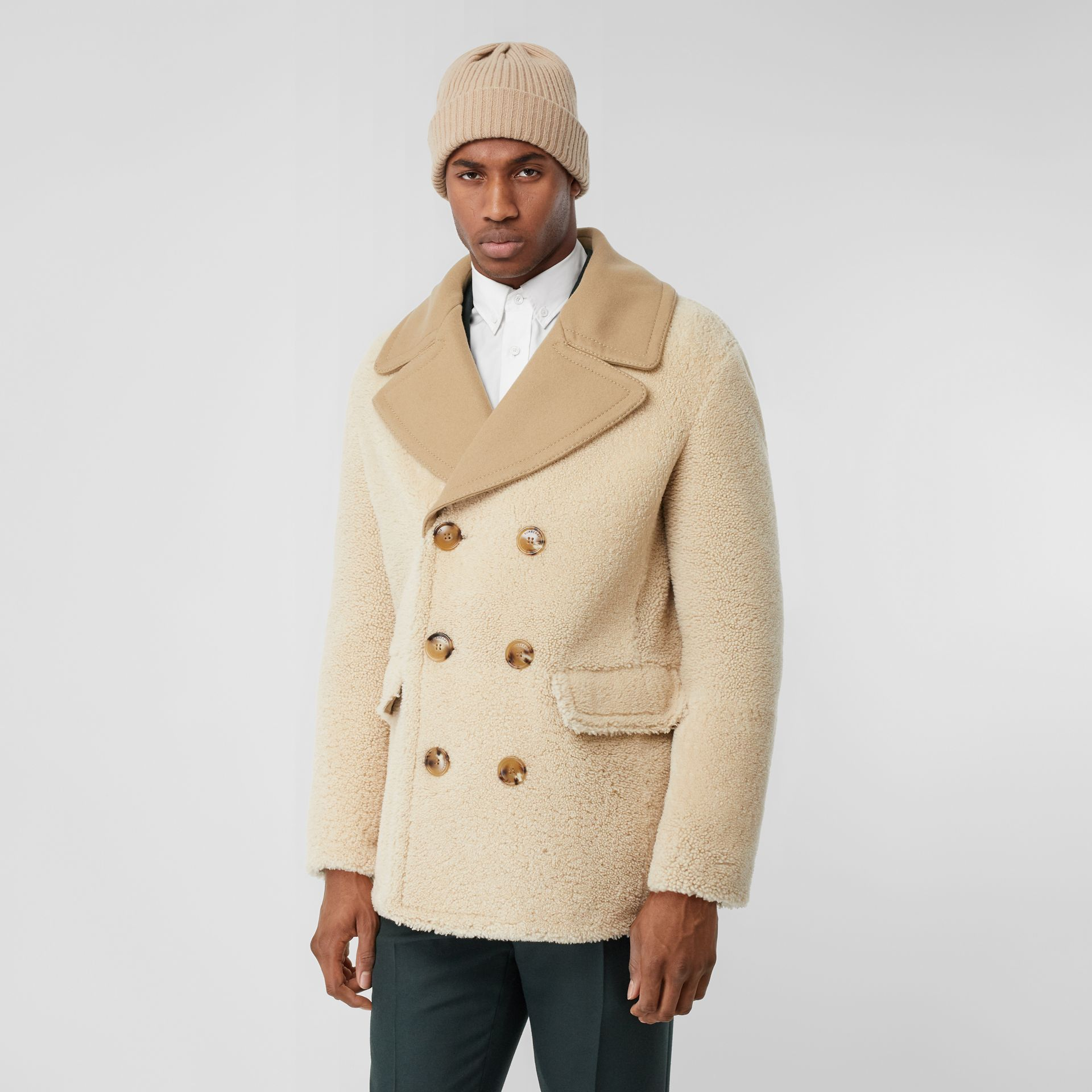 Contrast Wool Collar Shearling Pea Coat in Sesame - Men | Burberry - gallery image 5