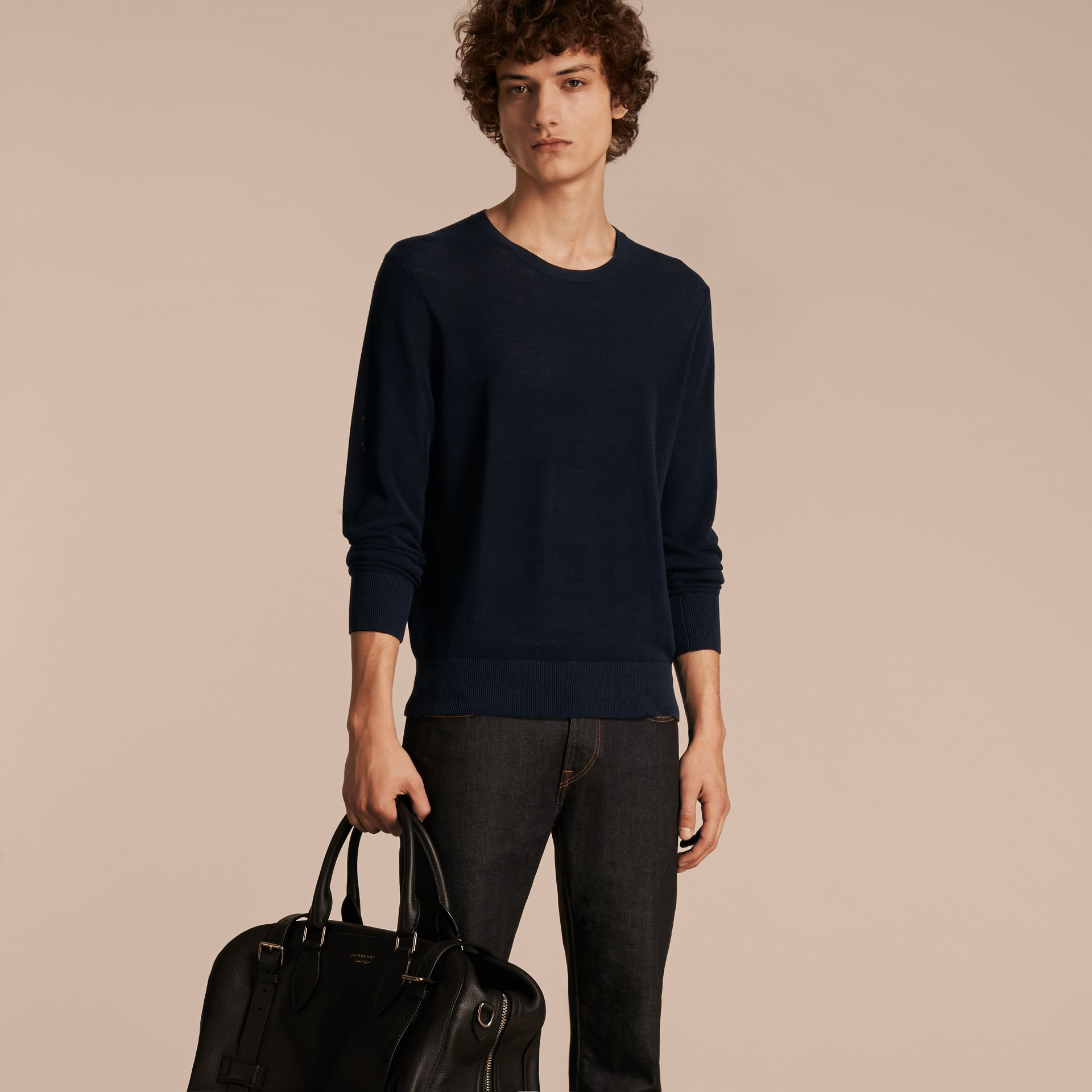 Crew Neck Textured Cotton Sweater in Navy - Men | Burberry - gallery image 6