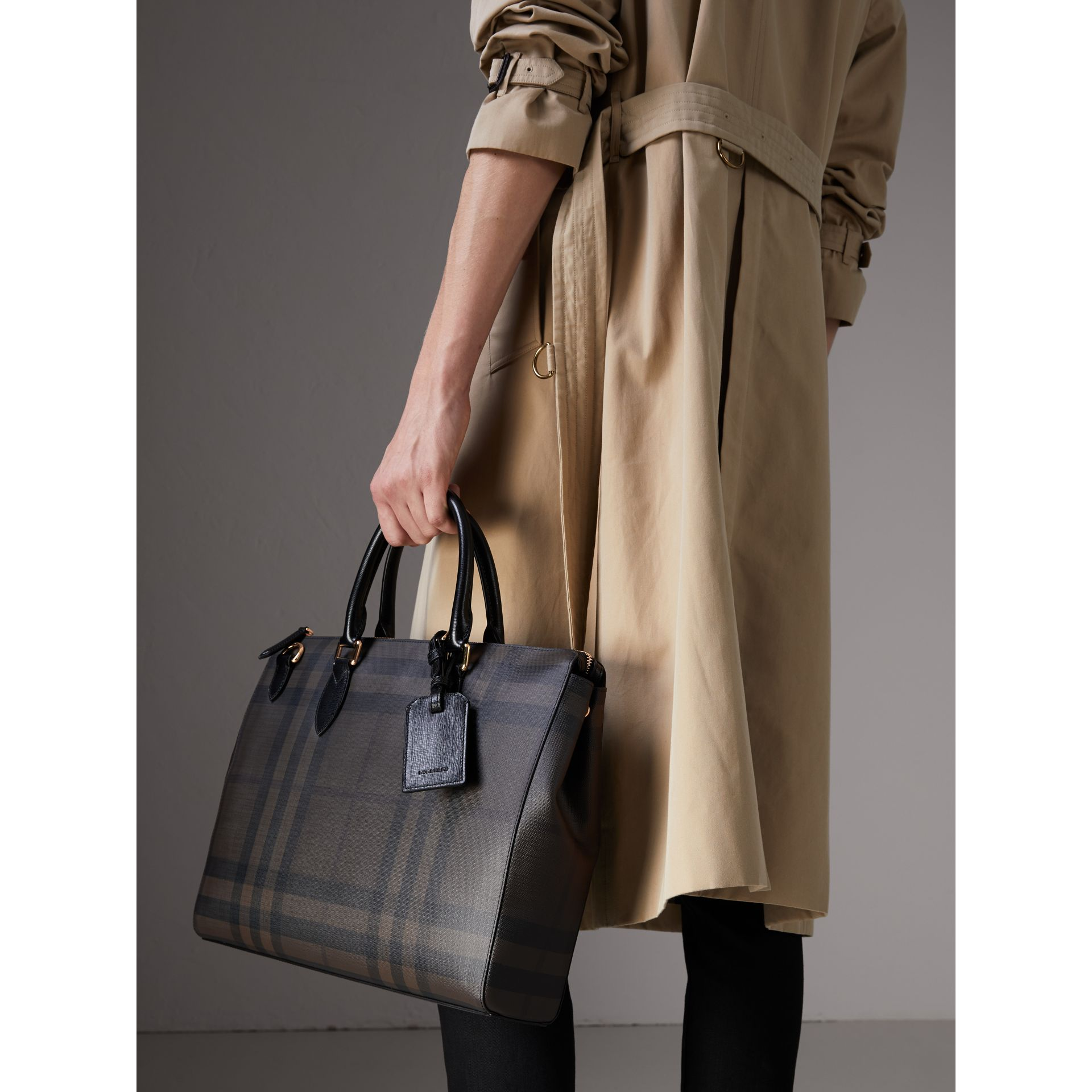 Large London Check Briefcase in Chocolate/black - Men | Burberry - gallery image 4