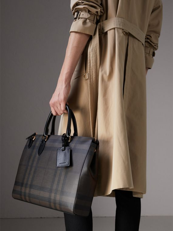 Large London Check Briefcase in Chocolate/black - Men | Burberry - cell image 3