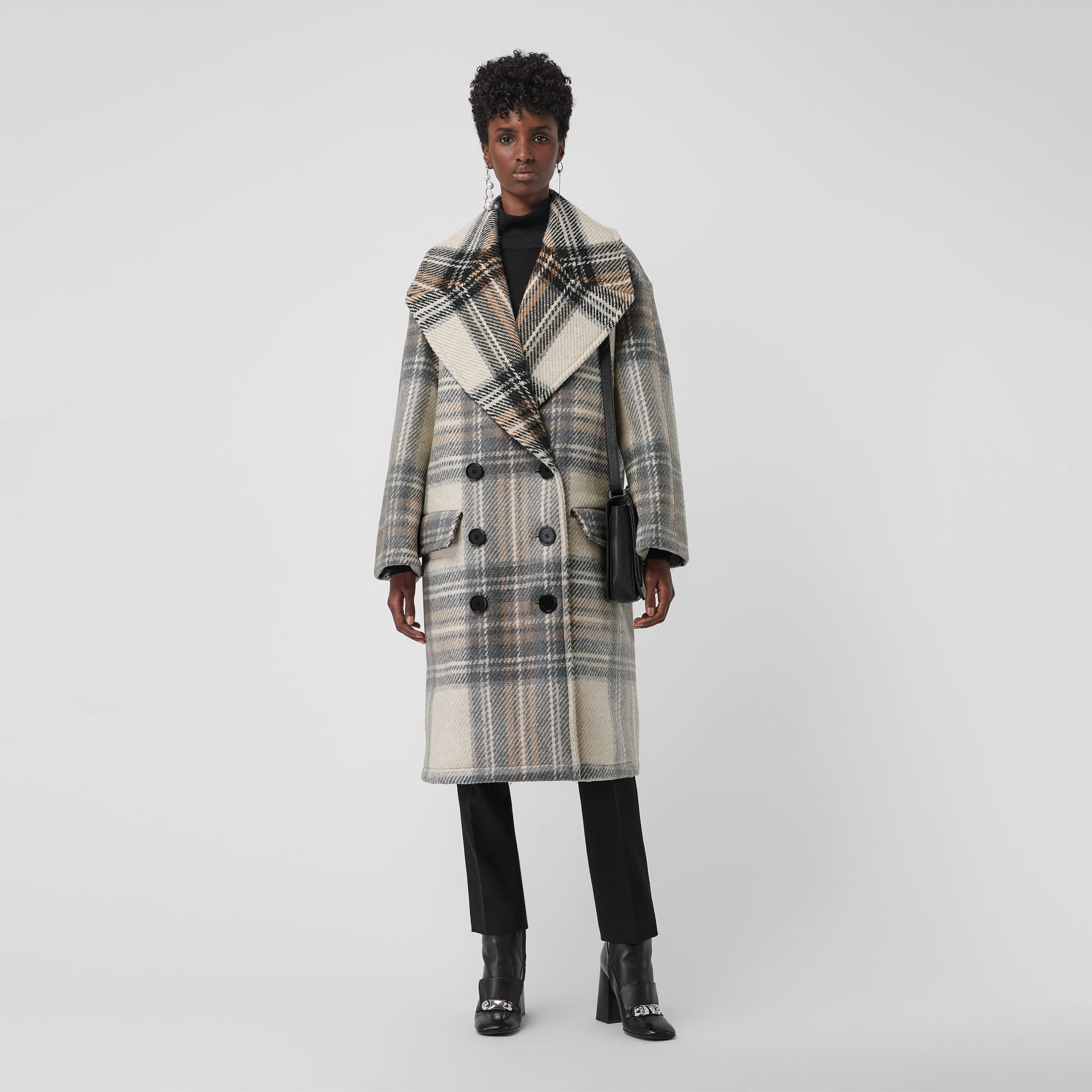 Check Wool Oversized Tailored Coat in Chalk White - Women | Burberry - gallery image 0