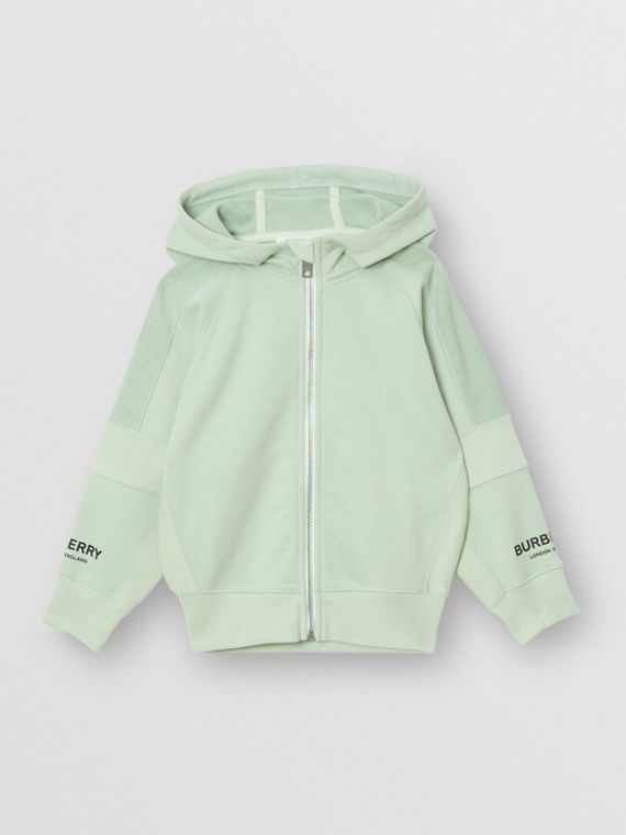 Logo Print Cotton Hooded Top in Pale Mint