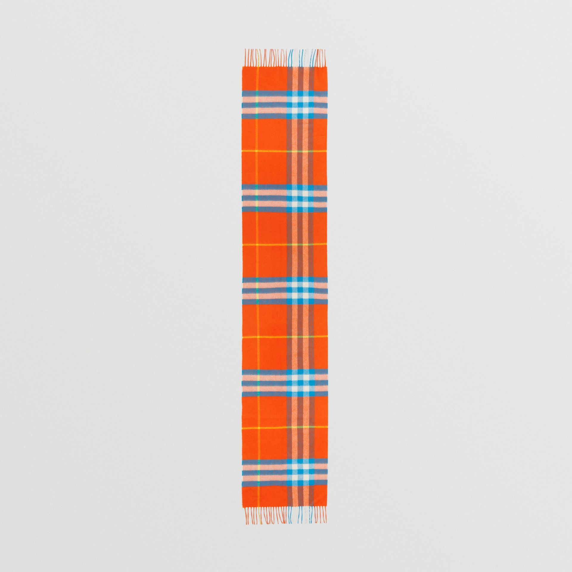 The Classic Check Cashmere Scarf in Bright Vermillion | Burberry United States - gallery image 4