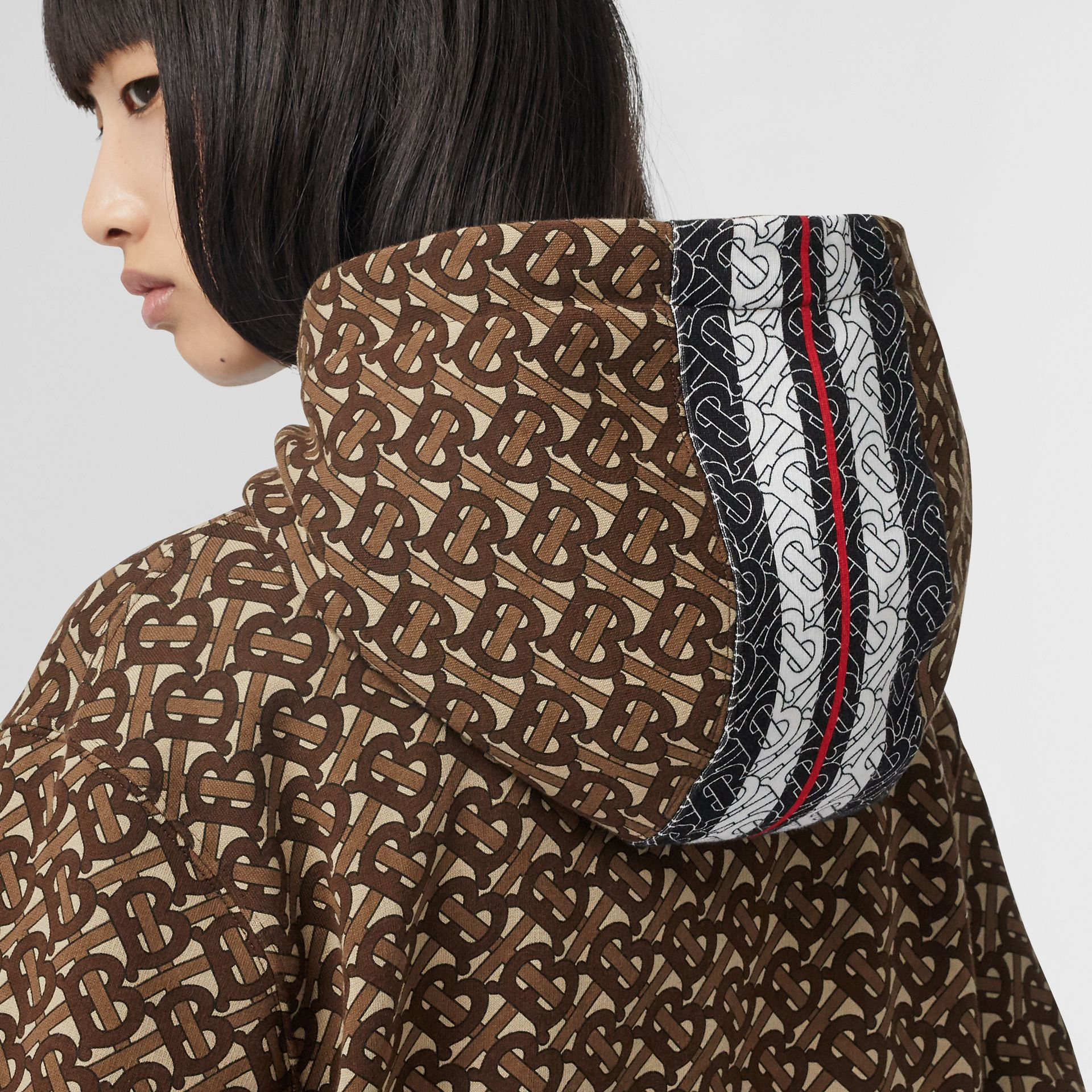 Monogram Stripe Print Cotton Oversized Hoodie in Bridle Brown - Women | Burberry Hong Kong - gallery image 4