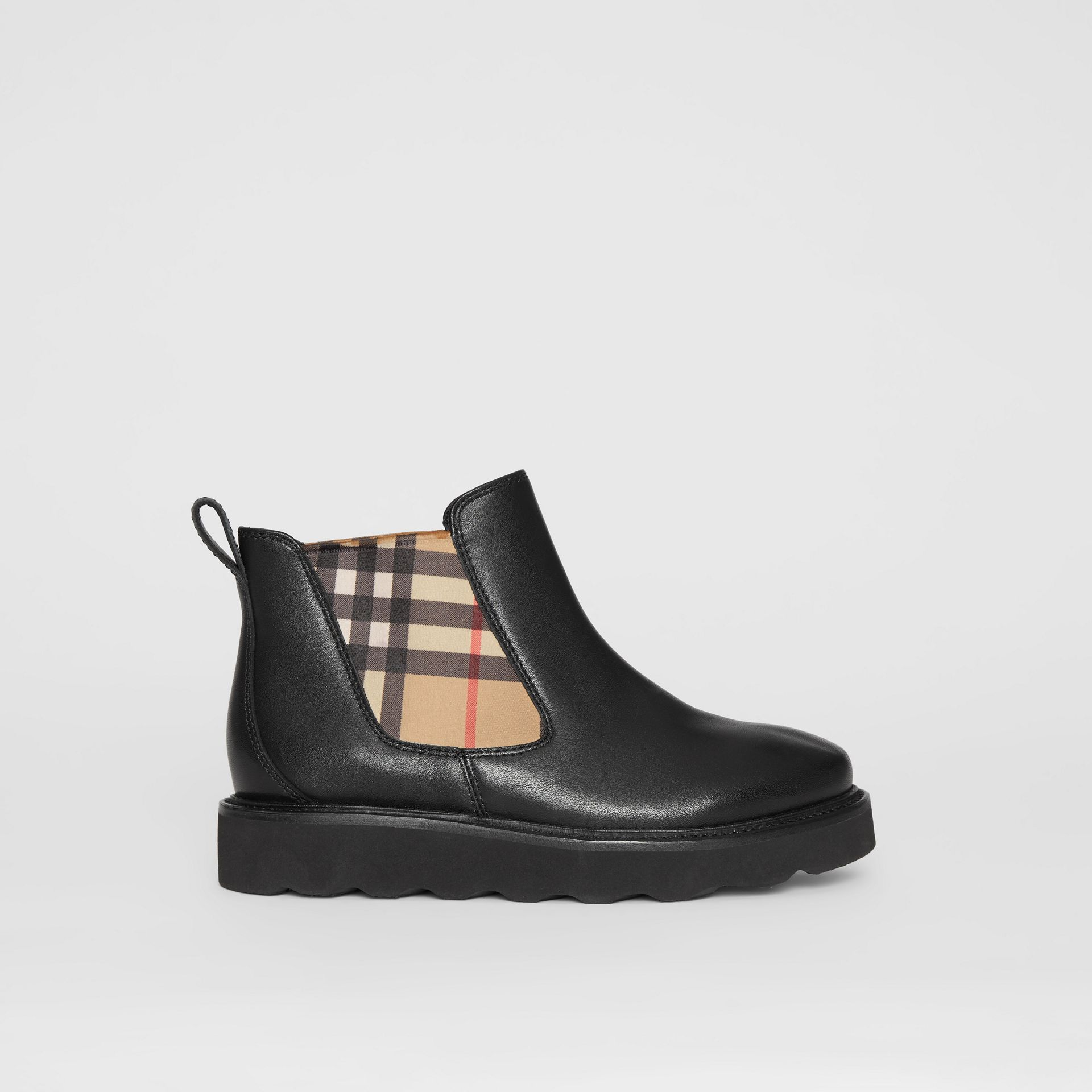 Vintage Check and Leather Chelsea Boots in Black - Children | Burberry - gallery image 3