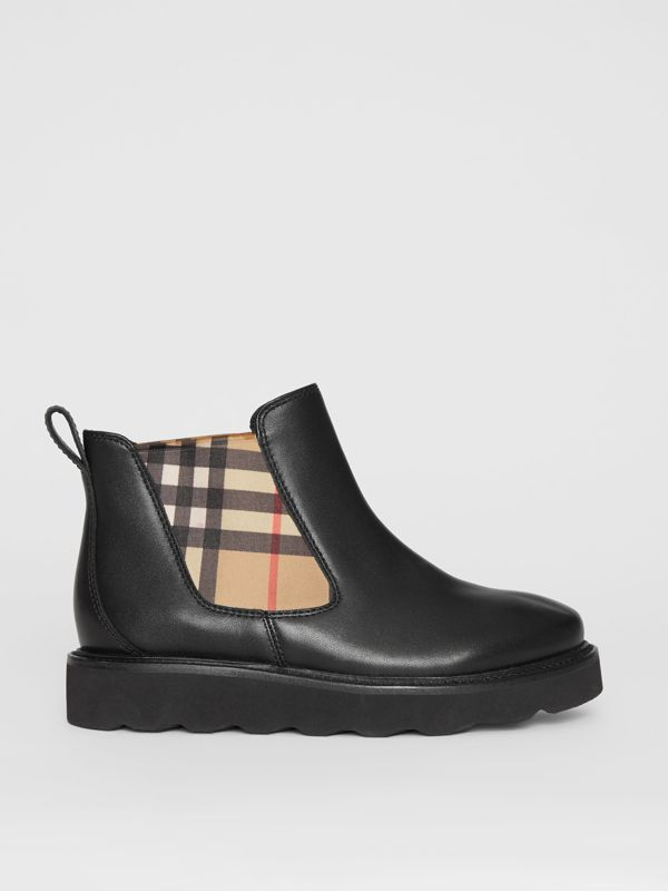 Vintage Check and Leather Chelsea Boots in Black - Children | Burberry - cell image 3