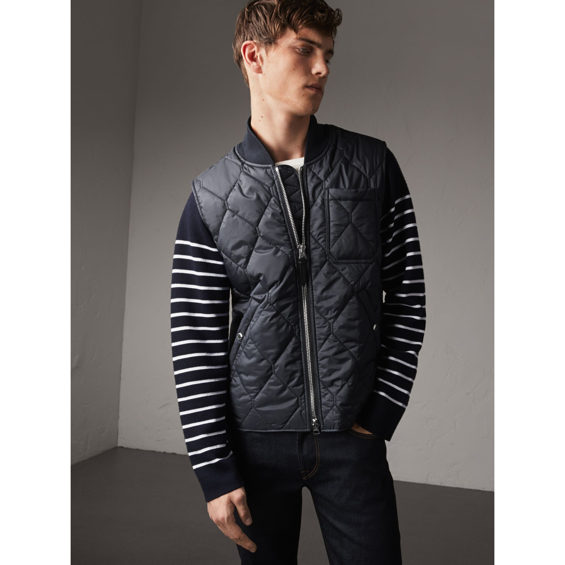 Diamond Quilted Gilet in Navy - Men | Burberry - gallery image 1