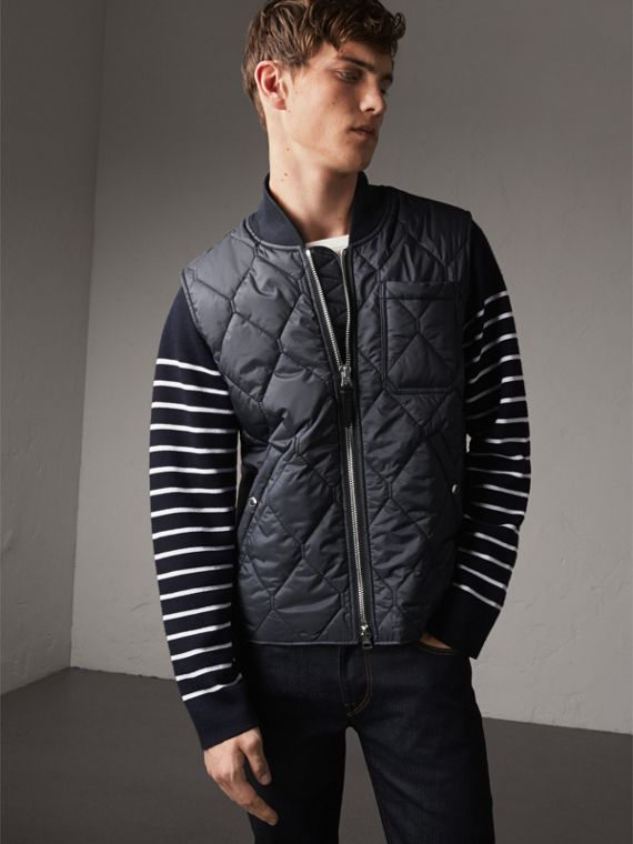 Diamond Quilted Gilet in Navy