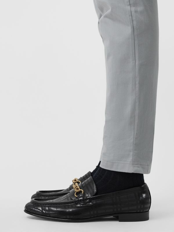 The Perforated Leather Link Loafer in Black - Men | Burberry United Kingdom - cell image 2