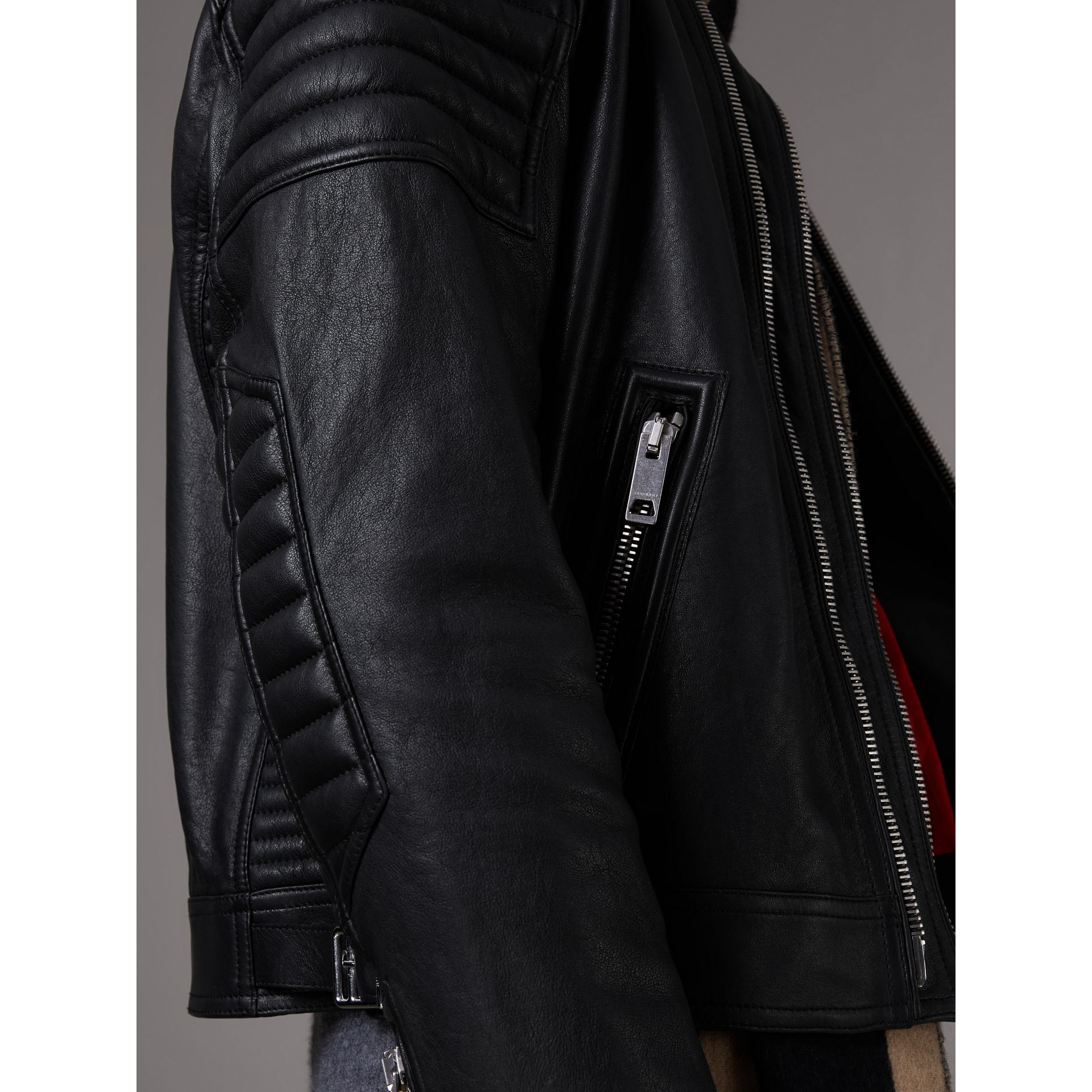 Panel Detail Lambskin Jacket in Black - Men | Burberry Singapore - gallery image 5