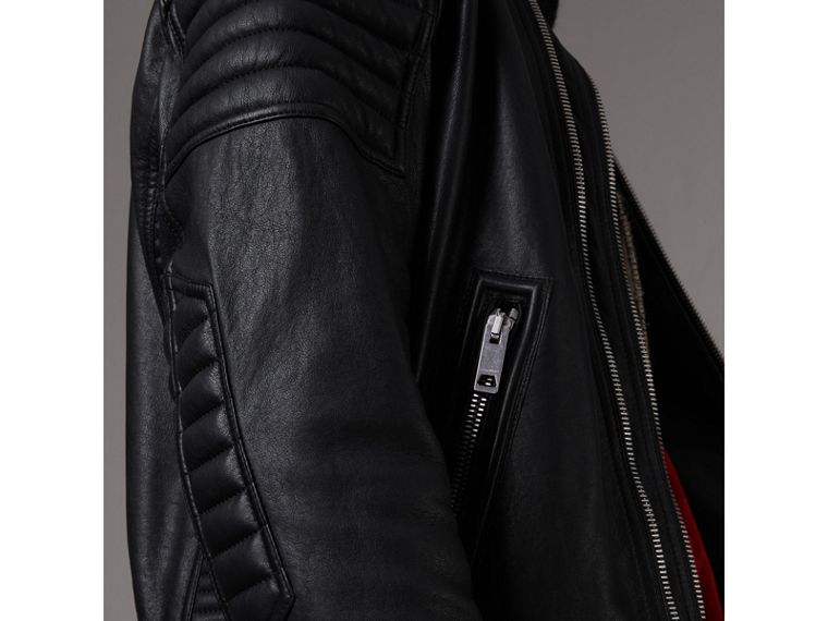 Panel Detail Lambskin Jacket in Black - Men | Burberry Singapore - cell image 4
