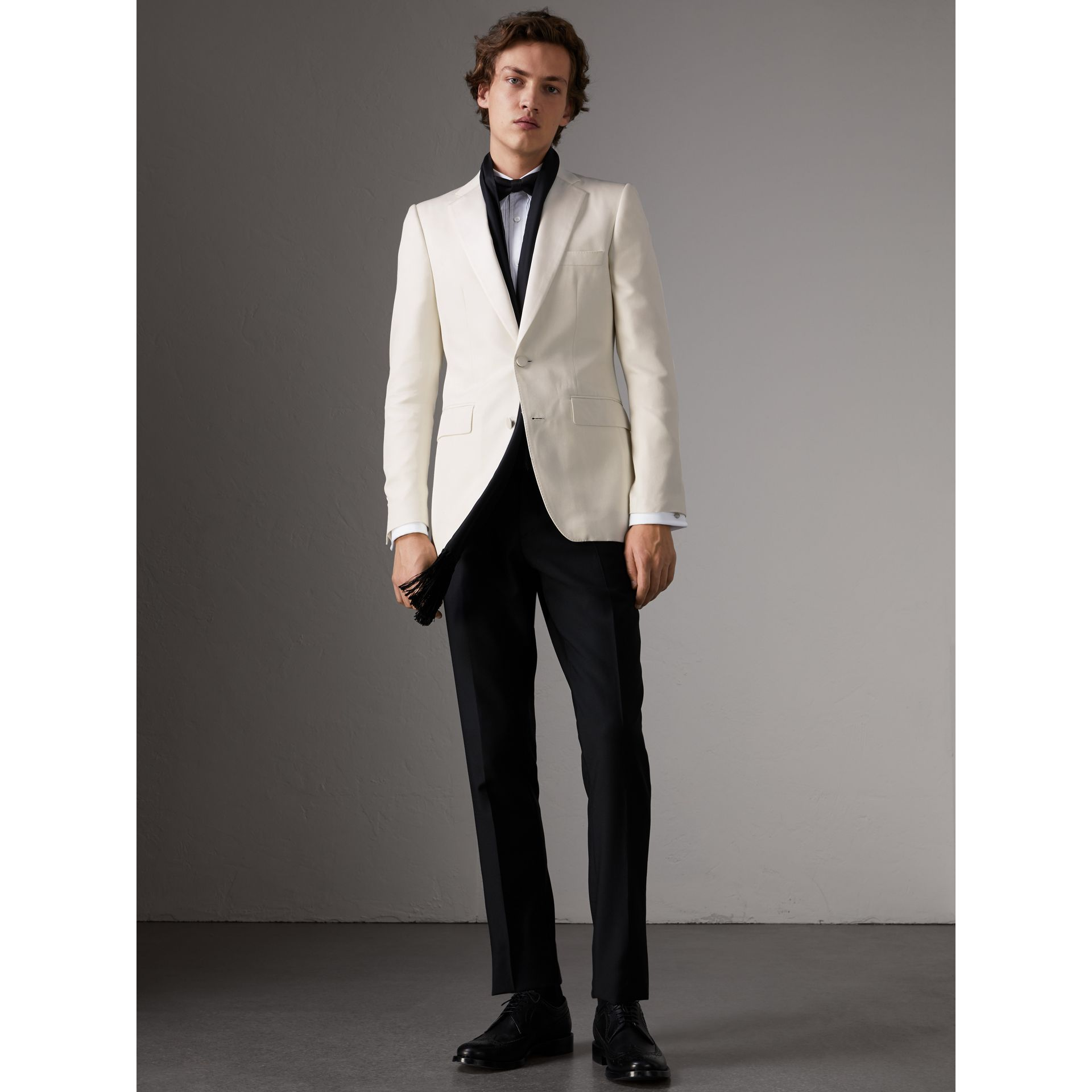 Slim Fit Silk Evening Jacket in Off White - Men | Burberry United Kingdom - gallery image 0