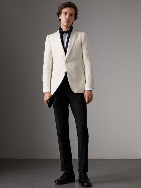 Slim Fit Silk Evening Jacket in Off White