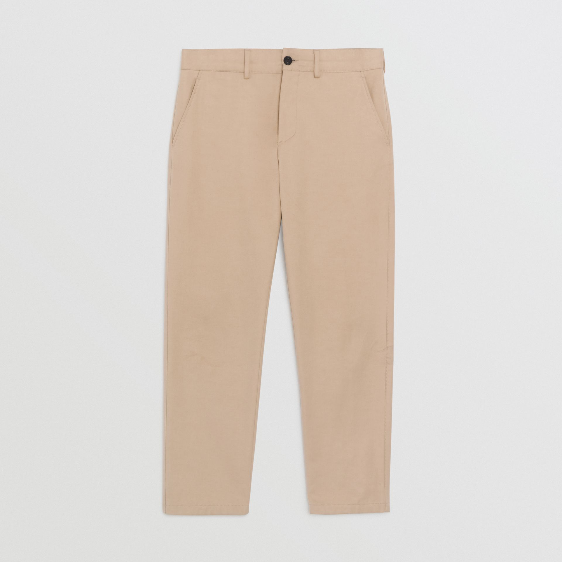 Slim Fit Cotton Blend Chinos in Stone - Men | Burberry - gallery image 3