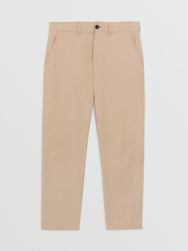 Slim Fit Cotton Blend Chinos in Stone - Men | Burberry Hong Kong - cell image 3