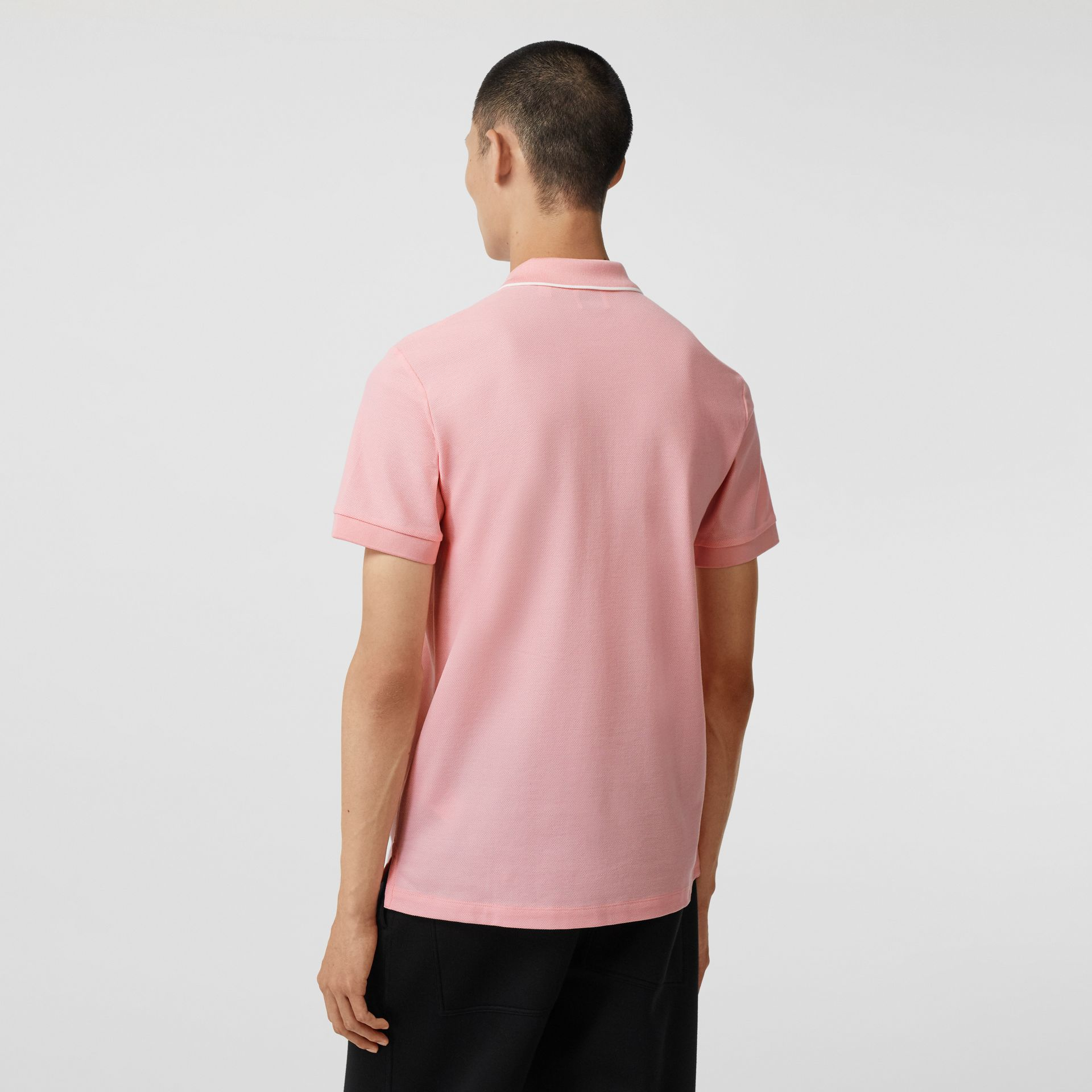 Logo Graphic Cotton Piqué Polo Shirt in Candy Pink - Men | Burberry - gallery image 2