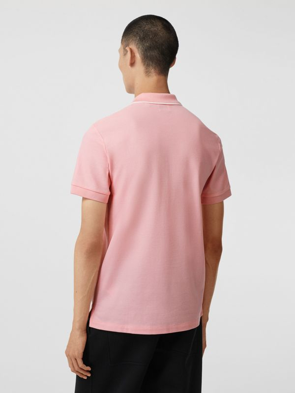 Logo Graphic Cotton Piqué Polo Shirt in Candy Pink - Men | Burberry Hong Kong S.A.R - cell image 2