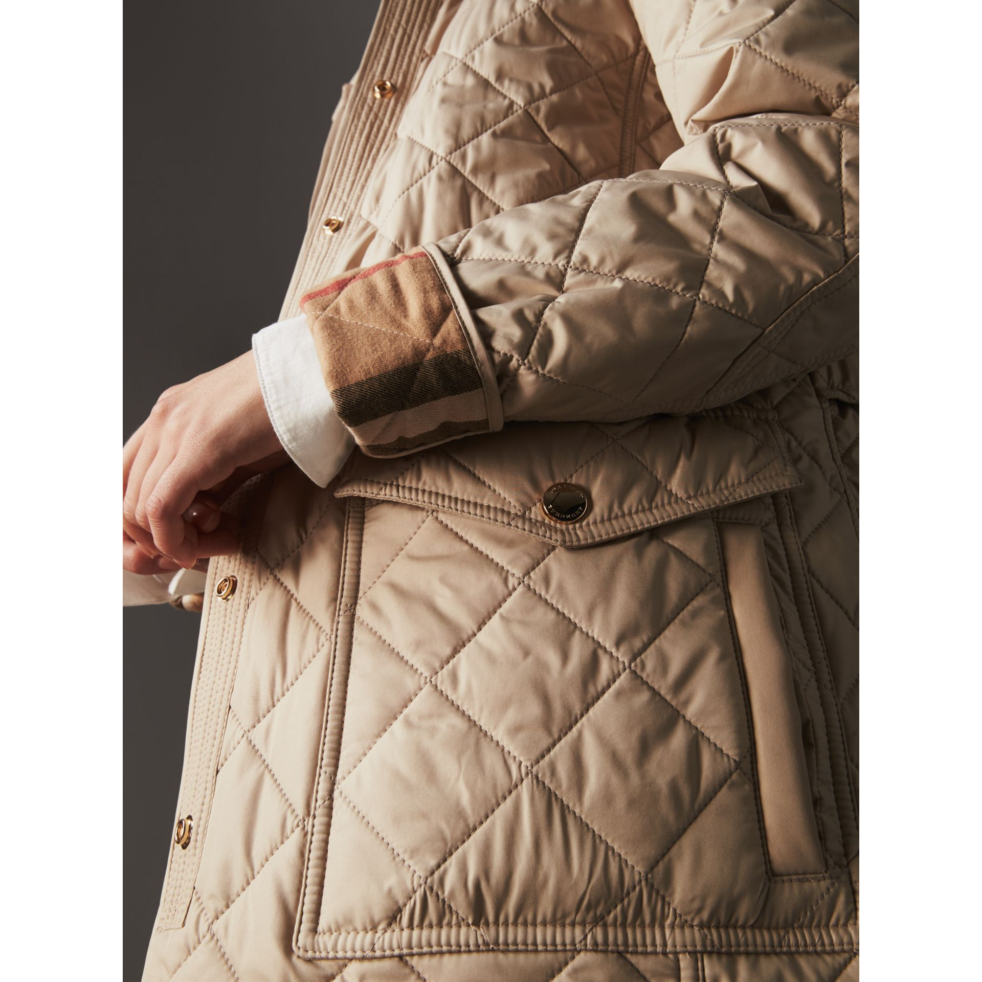 Check Detail Diamond Quilted Jacket in Dark Stone - Women | Burberry - gallery image 4