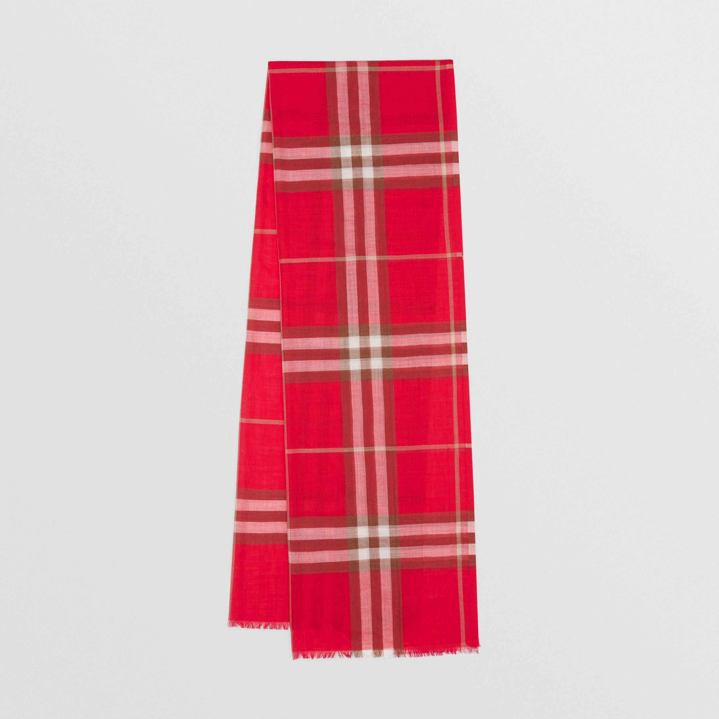 Lightweight Check Wool Silk Scarf in Bright Red | Burberry Australia - 1