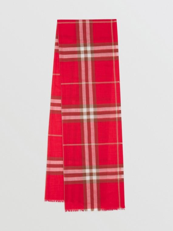 Leichter Schal aus Wolle und Seide mit Karomuster (Leuchtendes Rot)