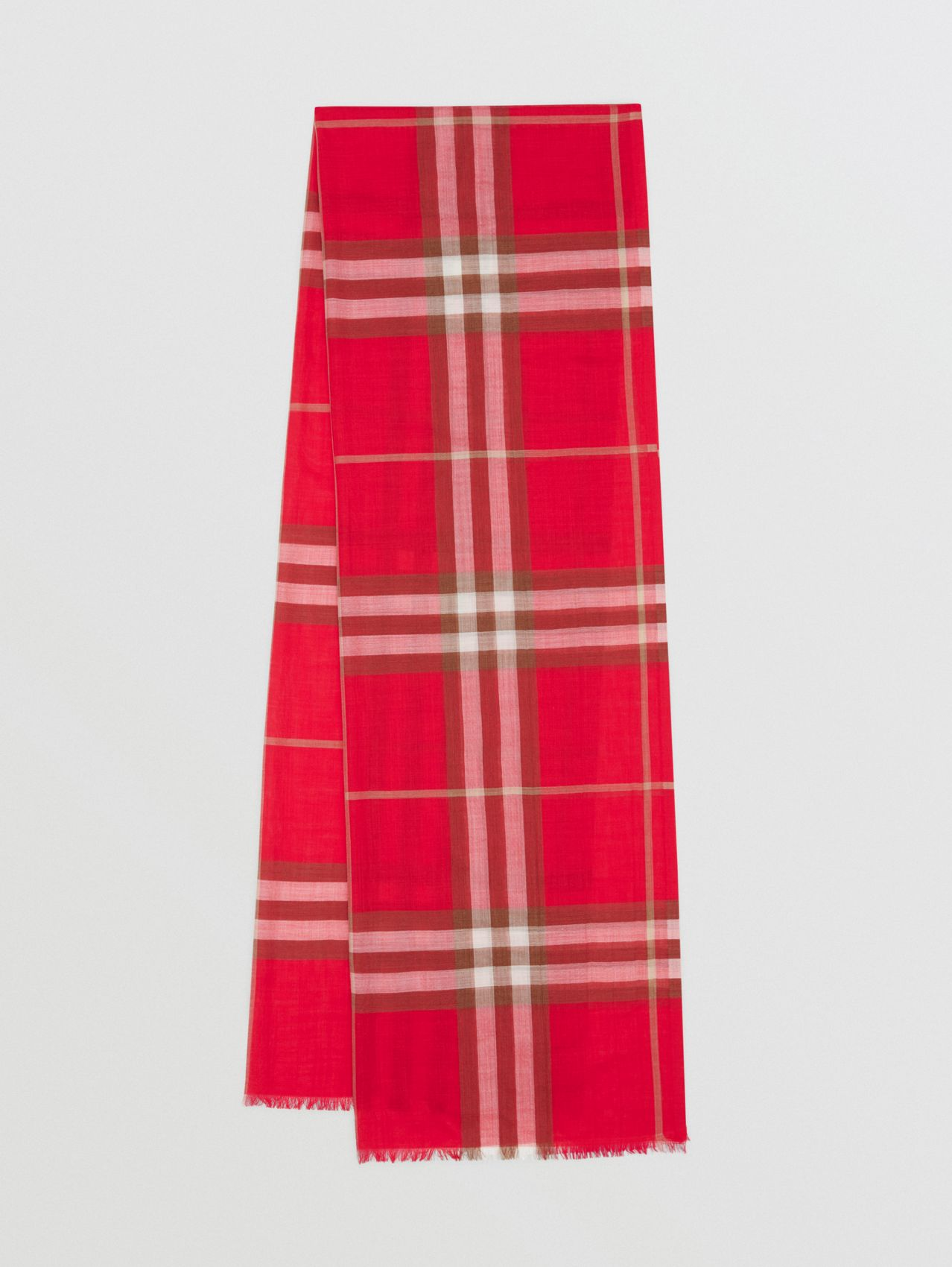Lightweight Check Wool Silk Scarf in Bright Red