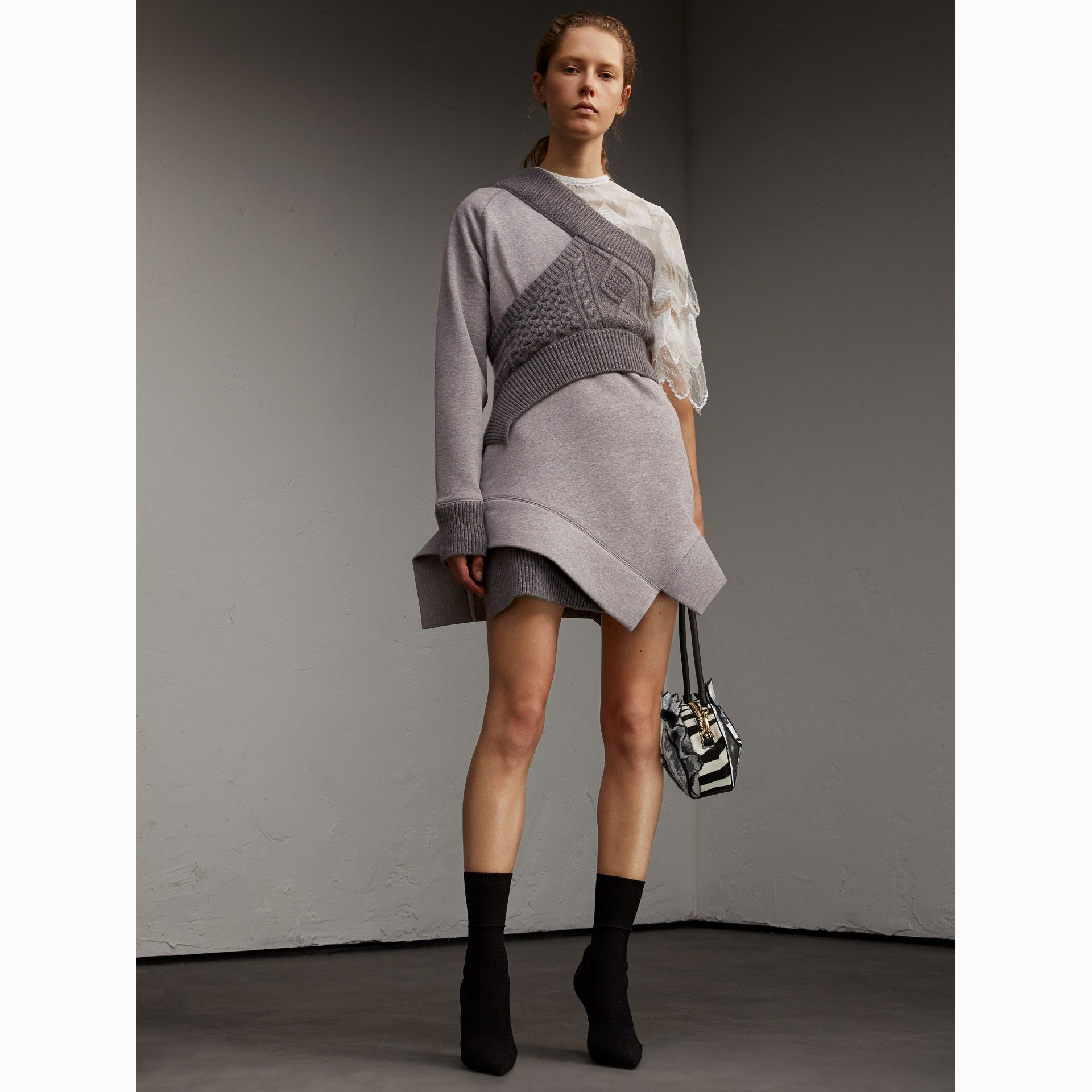 Cable Knit Panel Sweatshirt Dress in Grey Melange - Women | Burberry - gallery image 5