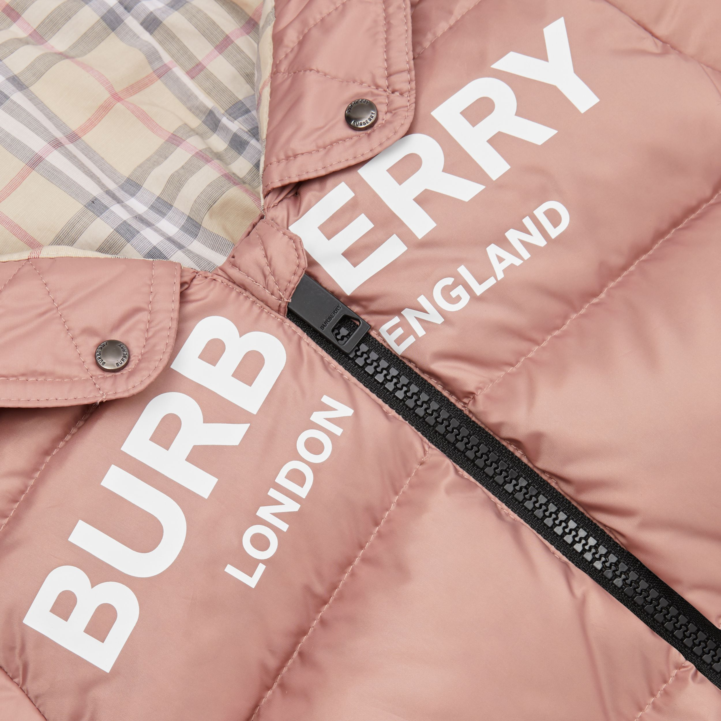 Logo Print Down-filled Puffer Suit in Lavender Pink - Children | Burberry - 2