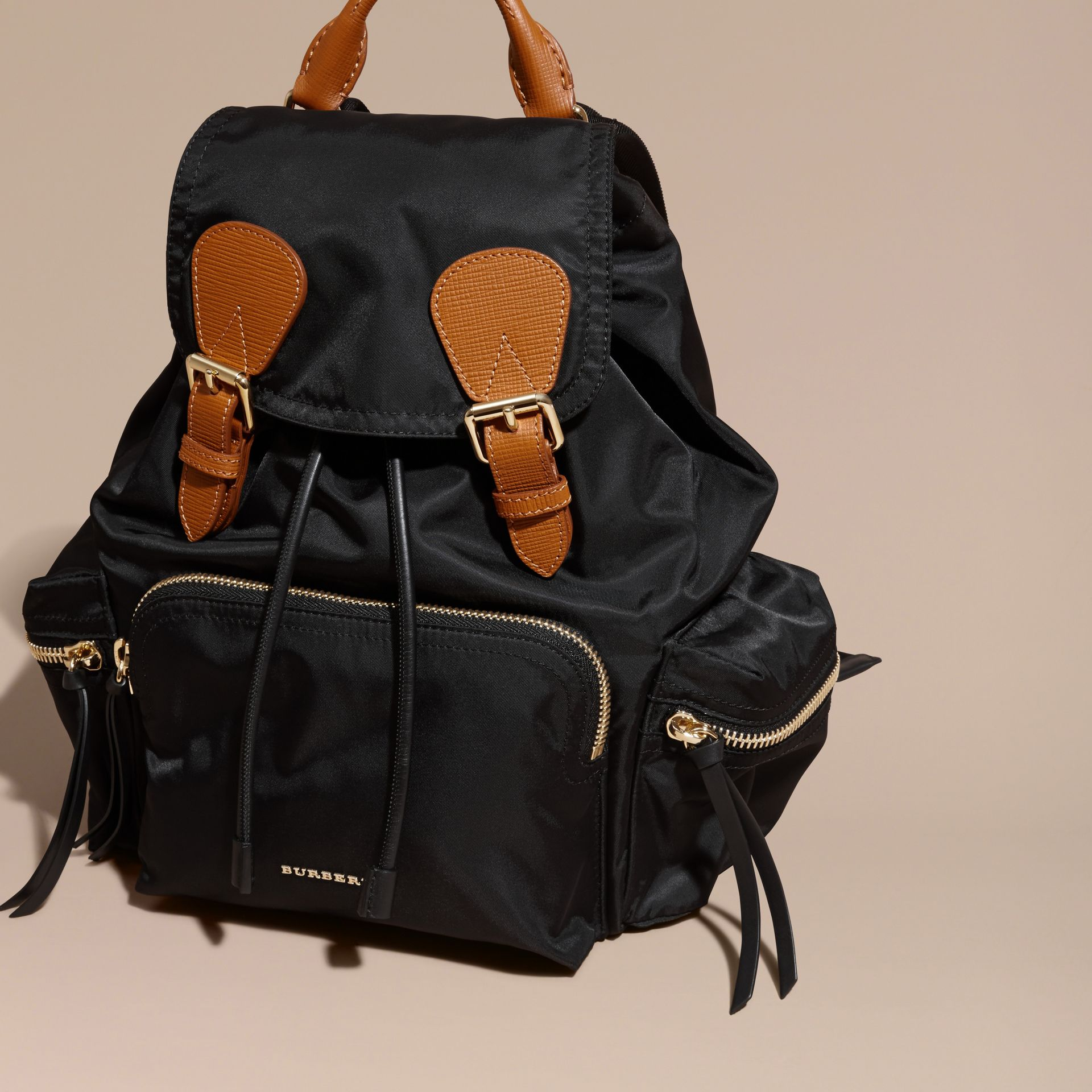 The Medium Rucksack in Technical Nylon and Leather in Black - gallery image 8