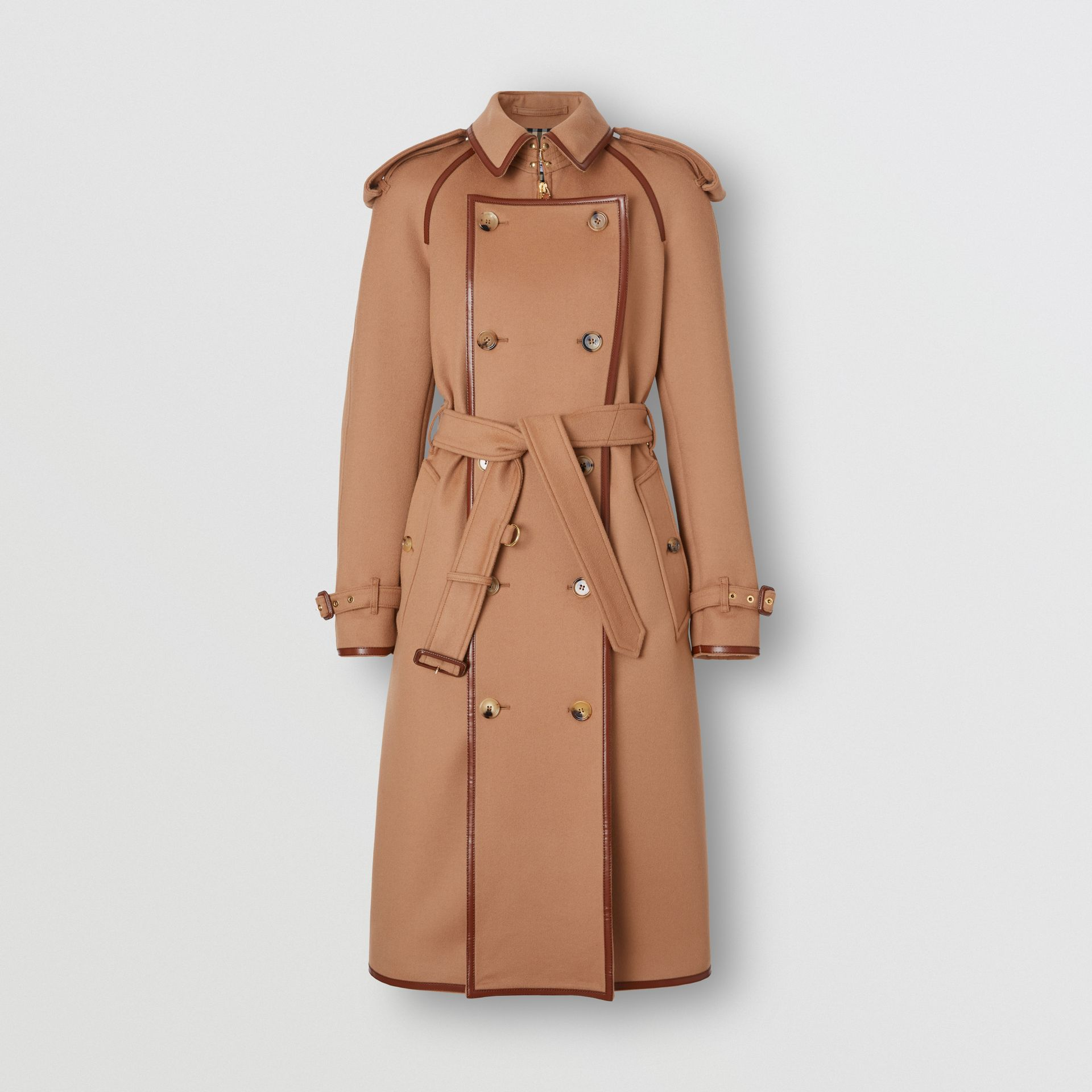 Button Panel Detail Wool Cashmere Trench Coat in Camel - Women | Burberry - gallery image 2
