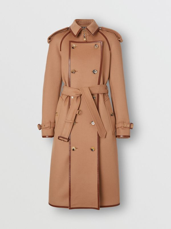 Button Panel Detail Wool Cashmere Trench Coat in Camel - Women | Burberry - cell image 3