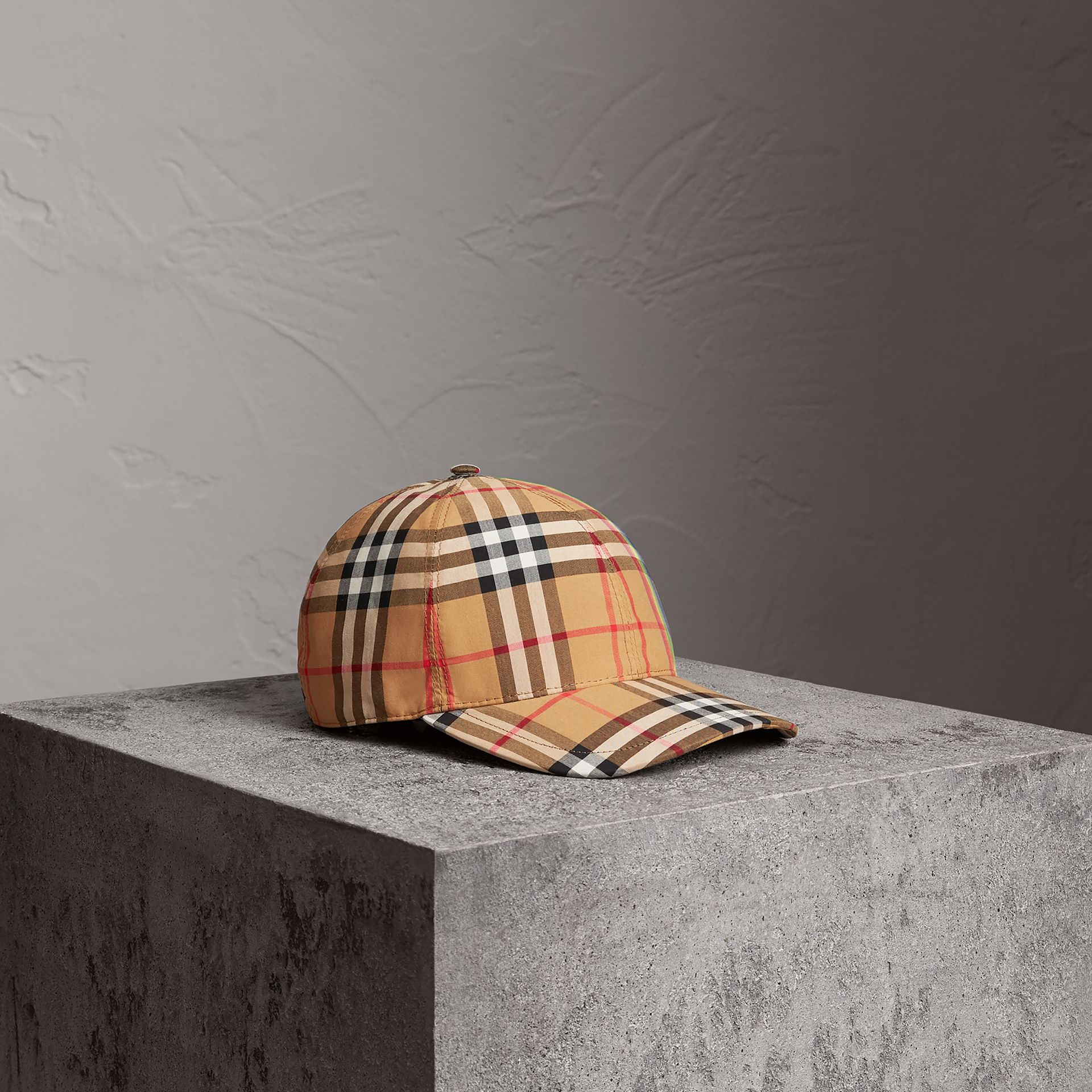 Rainbow Vintage Check Baseball Cap in Antique Yellow/rainbow | Burberry Australia - gallery image 6