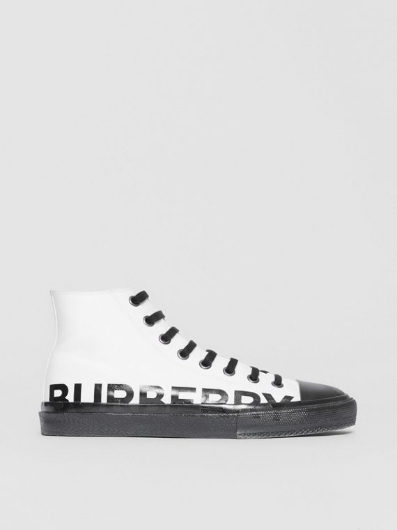 Logo Print Cotton Gabardine High-top Sneakers in Optic White/black