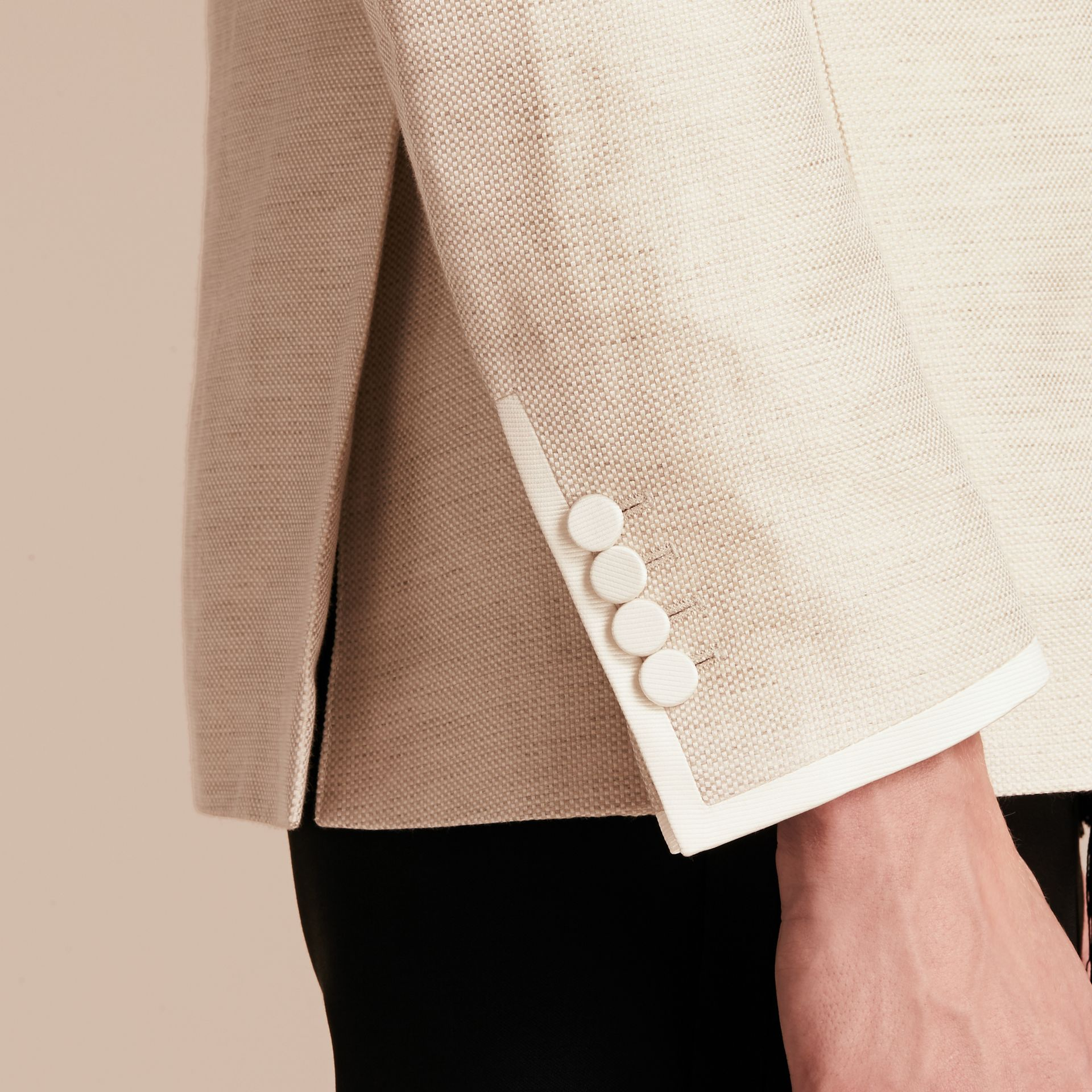 Slim Fit Shawl Lapel Linen Silk Evening Jacket in Stone - gallery image 6