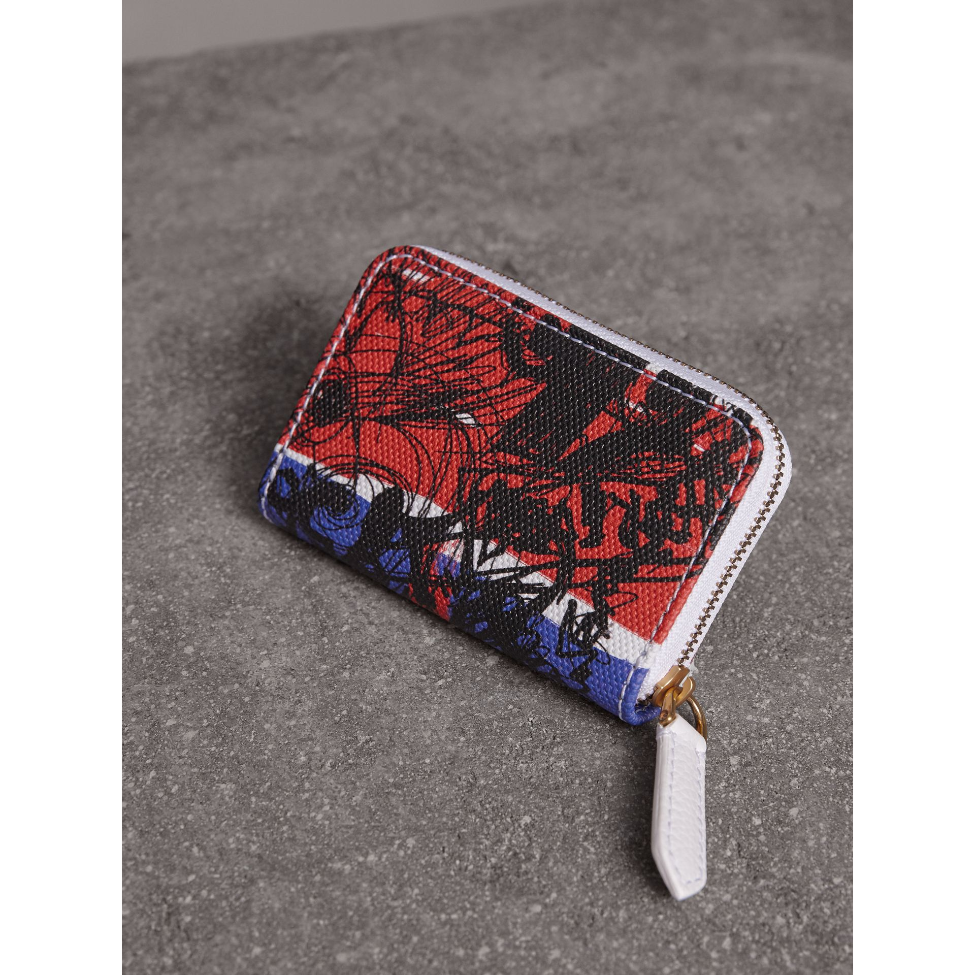 Doodle Print Coated Canvas Ziparound Coin Case in Red/blue | Burberry Hong Kong - gallery image 3